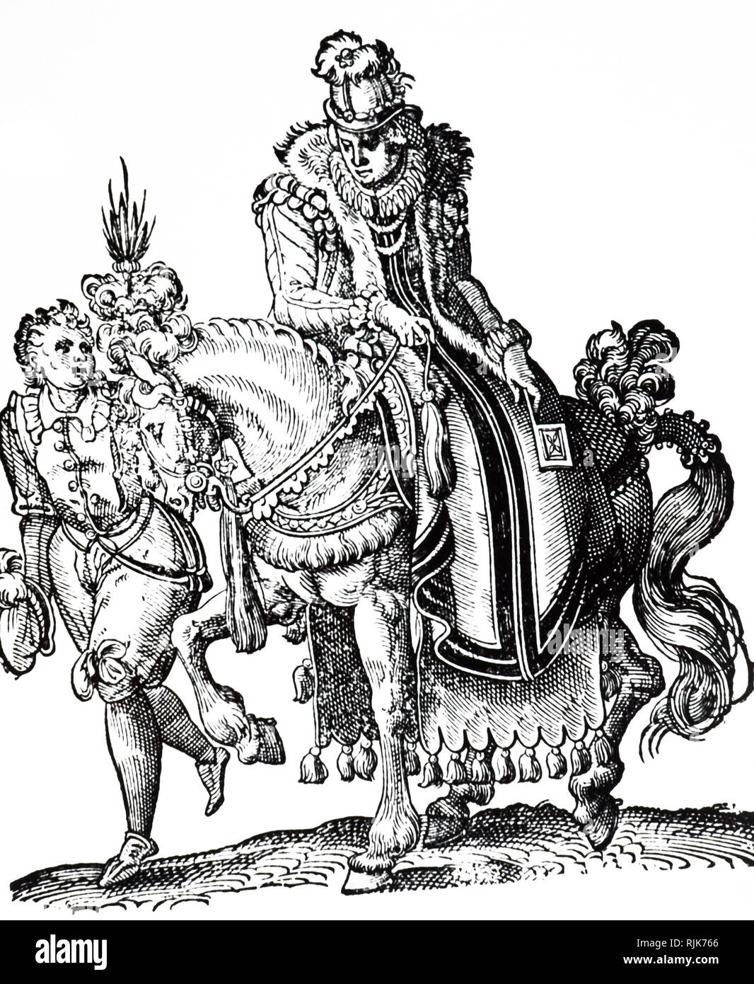 A woodcut engraving depicting a lady riding side-saddle attended by a servant. Woodcut by Jost Amman (1539-1591) a Swiss-German artist. Dated 16th century - Stock Image