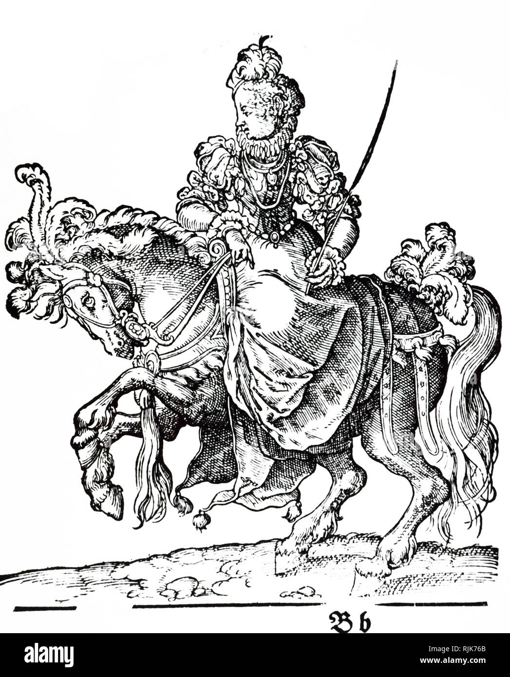 A woodcut engraving depicting a lady riding side-saddle. Woodcut by Jost Amman (1539-1591) a Swiss-German artist. Dated 16th century - Stock Image