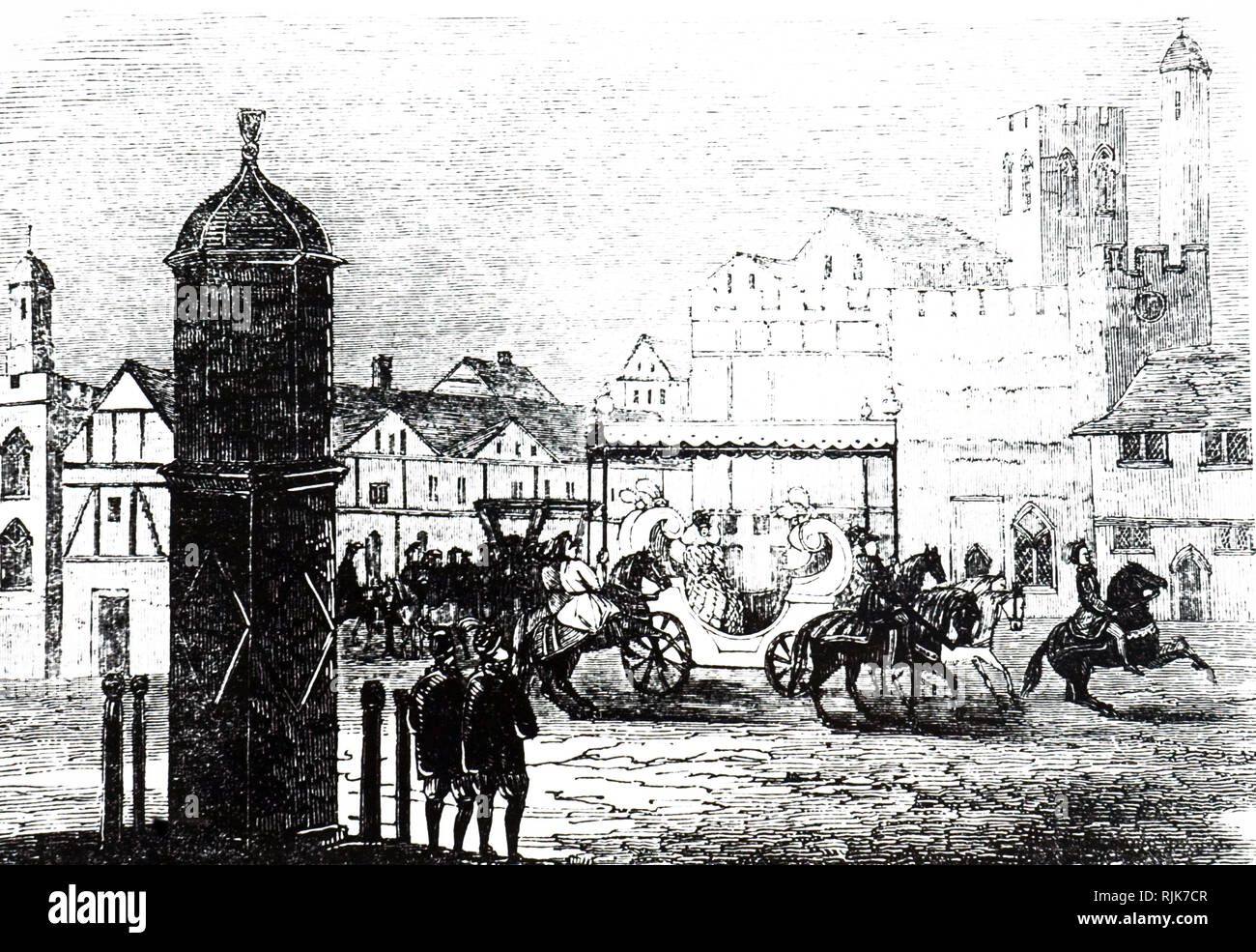An engraving depicting Cornhill in the time of Elizabeth I, showing the Queen travelling through in a coach. Dated 19th century - Stock Image