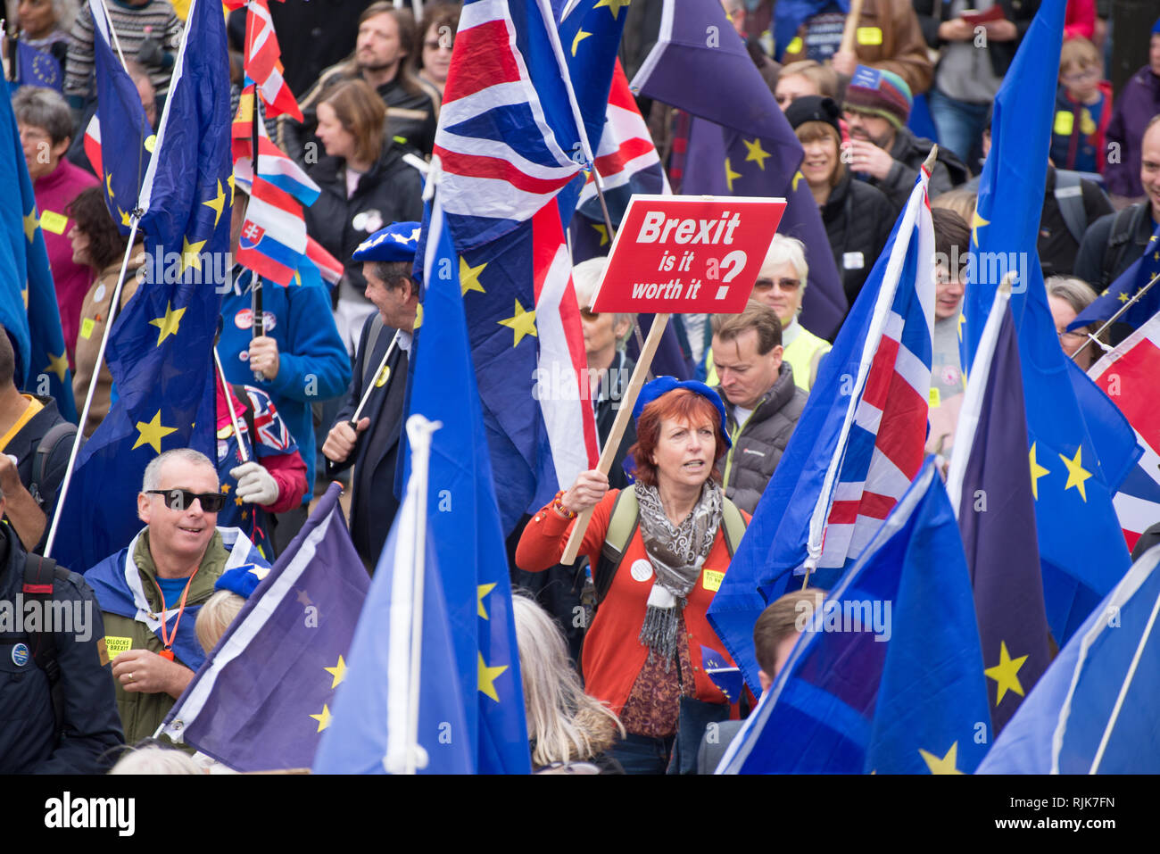 People participate in the '#BinBrexitInBrum' demonstration in Birmingham, United Kingdom on Sunday, September 30, 2018. The demonstration was held to  Stock Photo