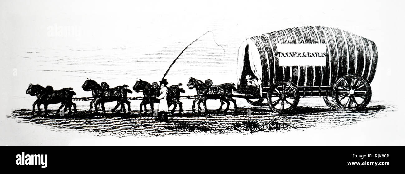 An engraving depicting a carter and waggon. Dated 19th century - Stock Image