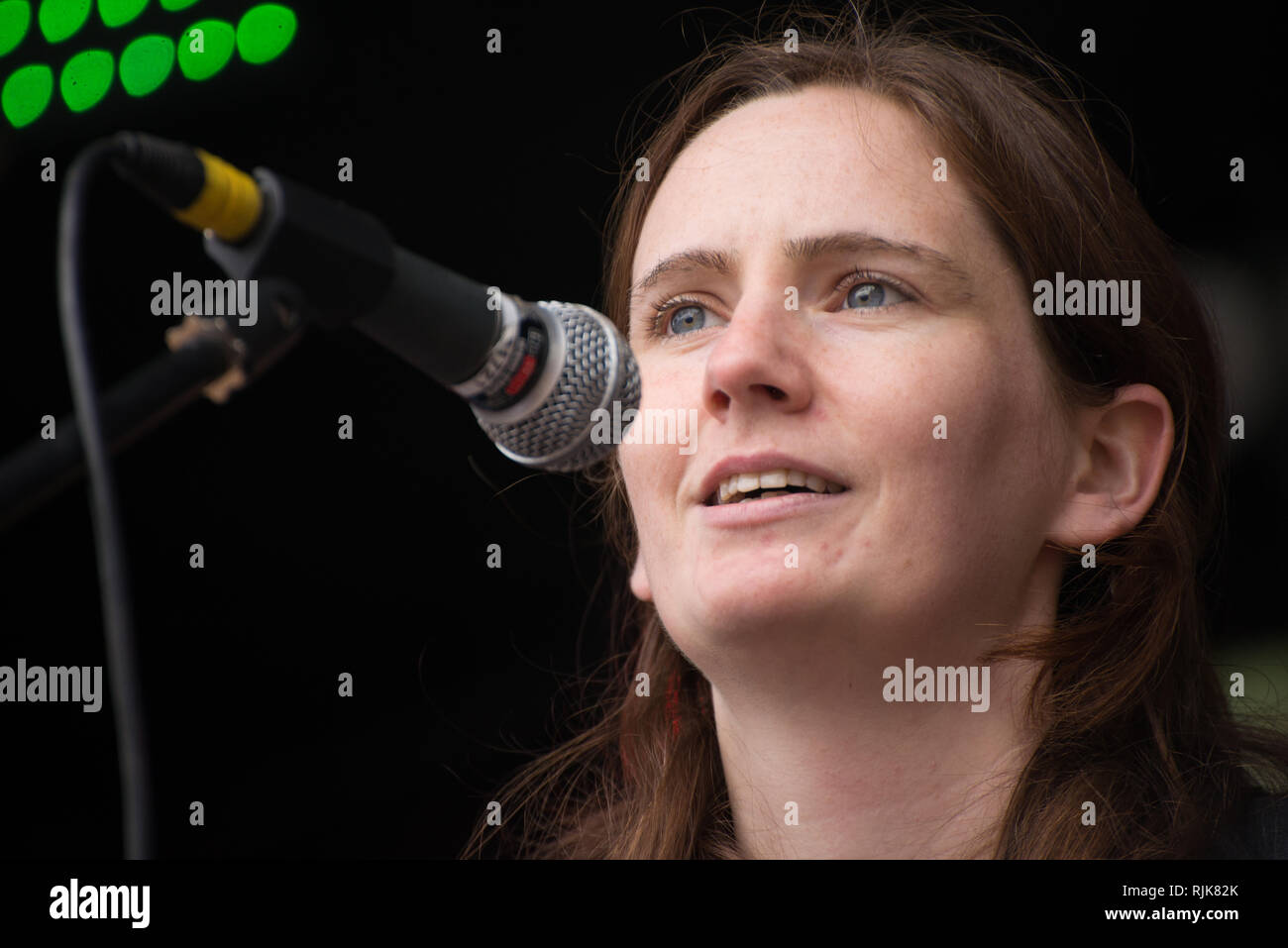 Bridget Jones, Birmingham City Councillor for Bournbrook and Selly Park, speaks at the '#BinBrexitInBrum' demonstration in Birmingham, United Kingdom  Stock Photo