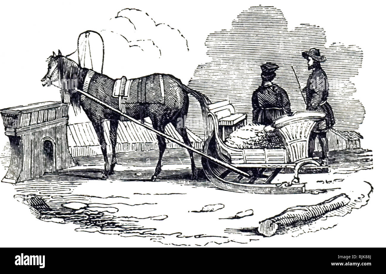 An engraving depicting a Polish cariole - a horse-drawn sledge. Dated 19th century - Stock Image