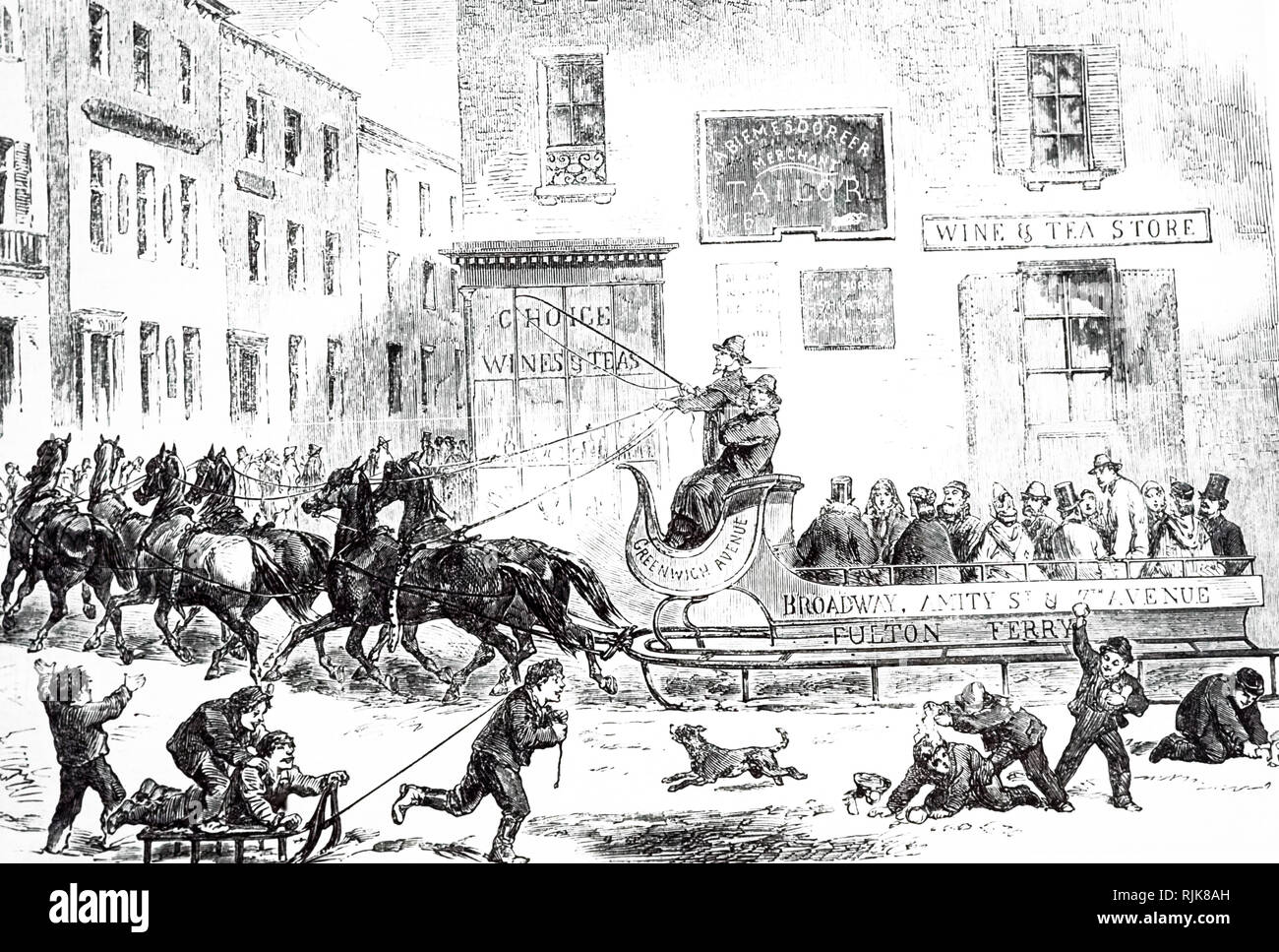 An engraving depicting a horse-drawn sleigh bus in New York. Dated 19th century Stock Photo