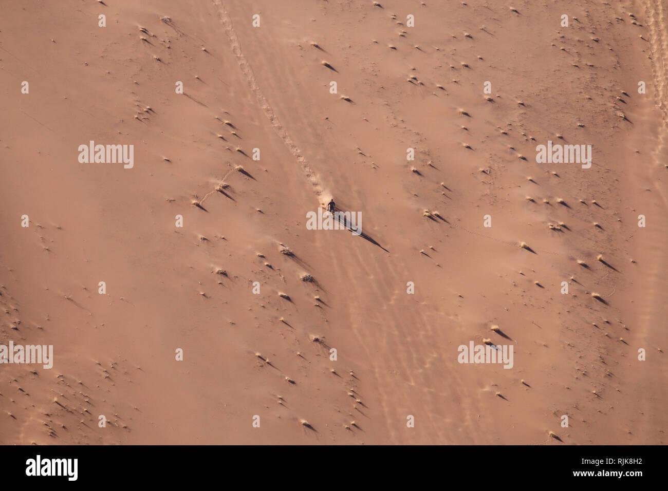Mensch rennt eine Düne in der Namib Wüste runter Stock Photo