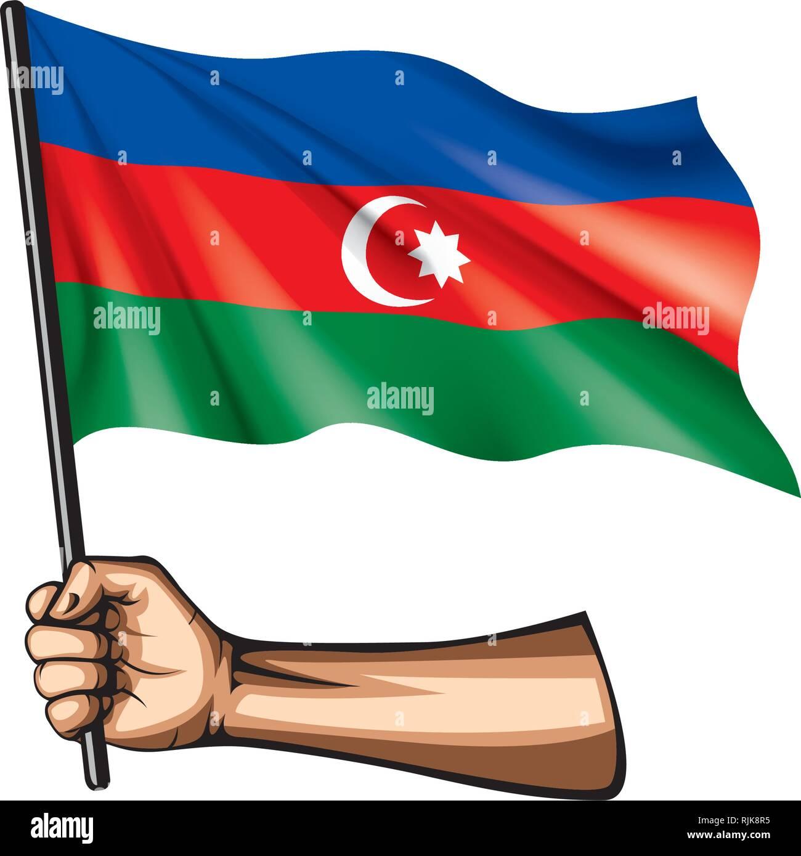 Azerbaijan flag and hand on white background. Vector illustration - Stock Vector