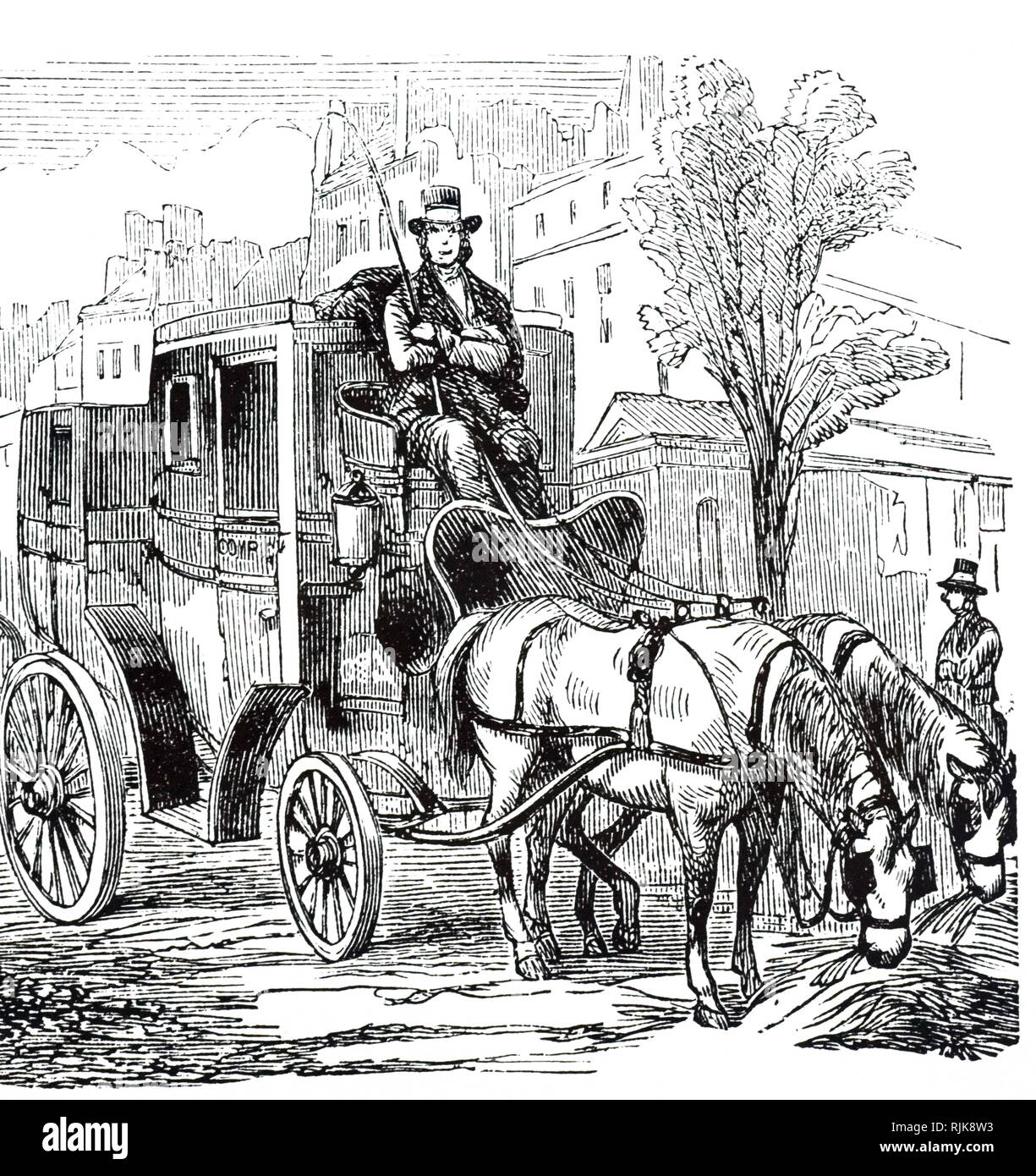An engraving depicting a Fiacre, a form of a hackney coach, a horse-drawn four-wheeled carriage for hire. Dated 19th century - Stock Image