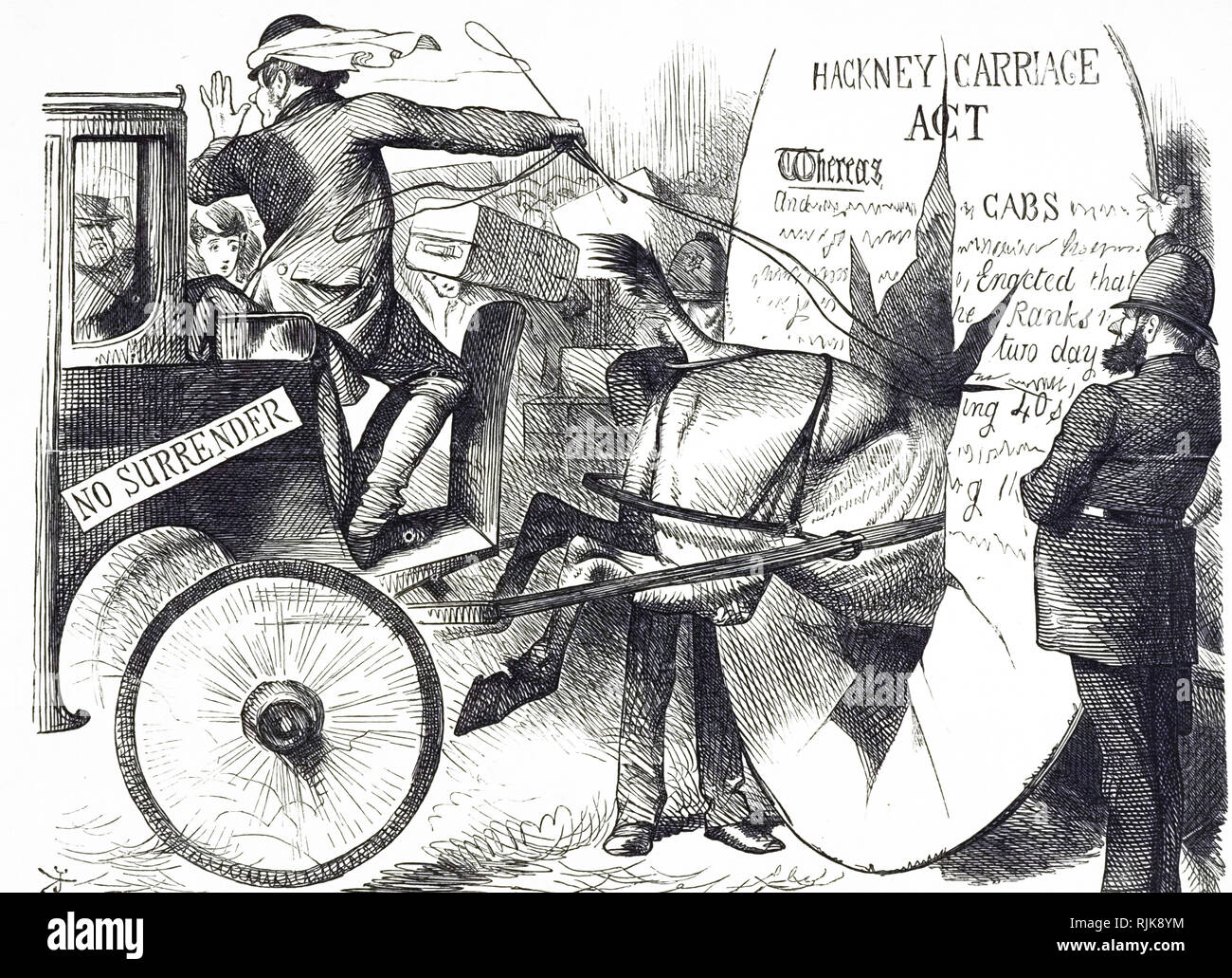 A cartoon commenting on the Hackney Carriage Act 1843. Dated 19th century - Stock Image