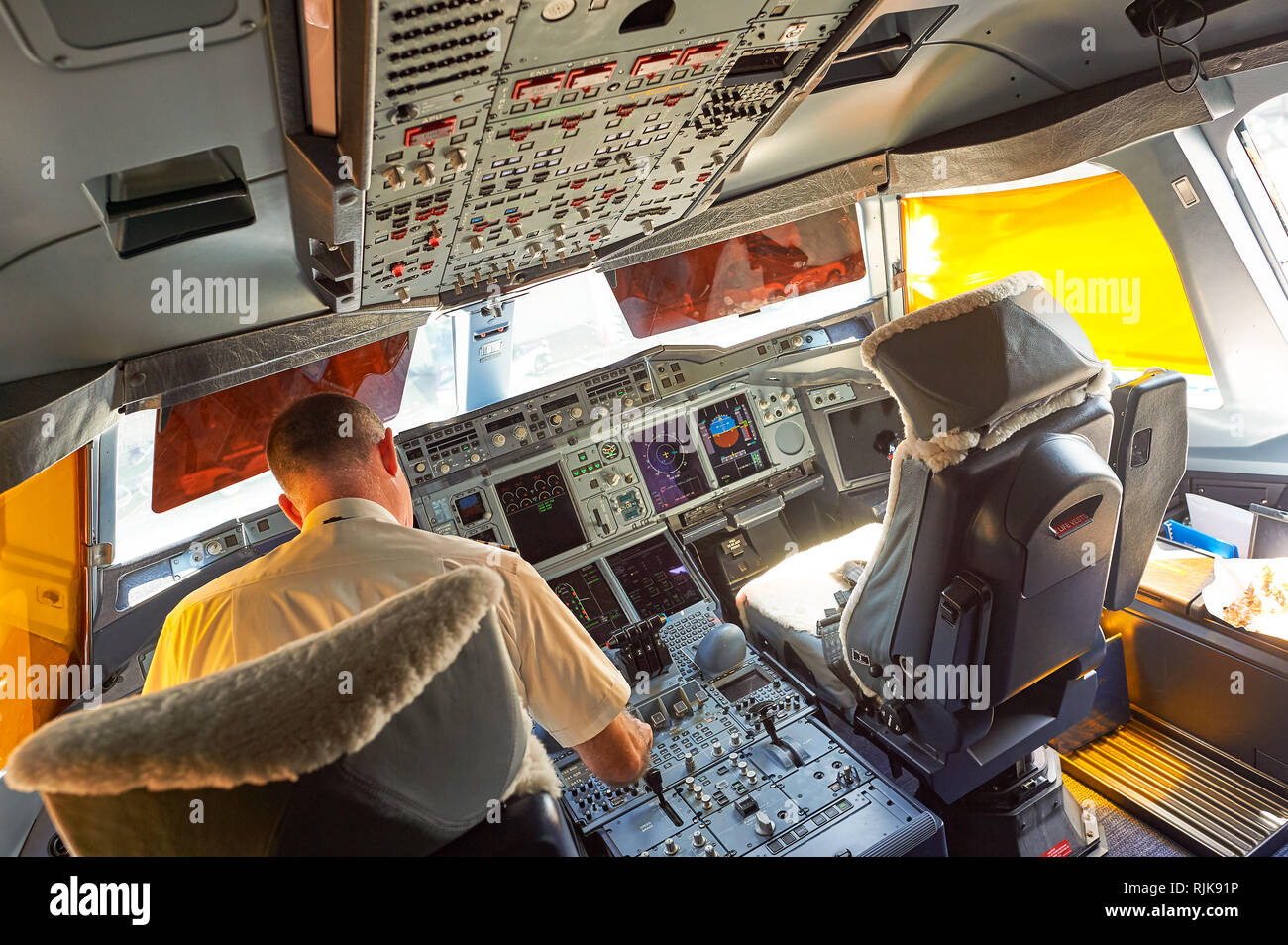 BANGKOK, THAILAND - MARCH 31, 2015: interior of Emirates Airbus A380. Emirates is one of two flag carriers of the United Arab Emirates along with Etih - Stock Image