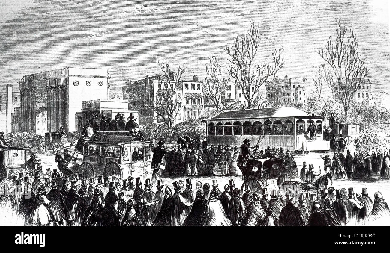 An engraving depicting the Bayswater line between Notting Hill and Marble Arch, opened 23rd March 1861. Dated 19th century - Stock Image