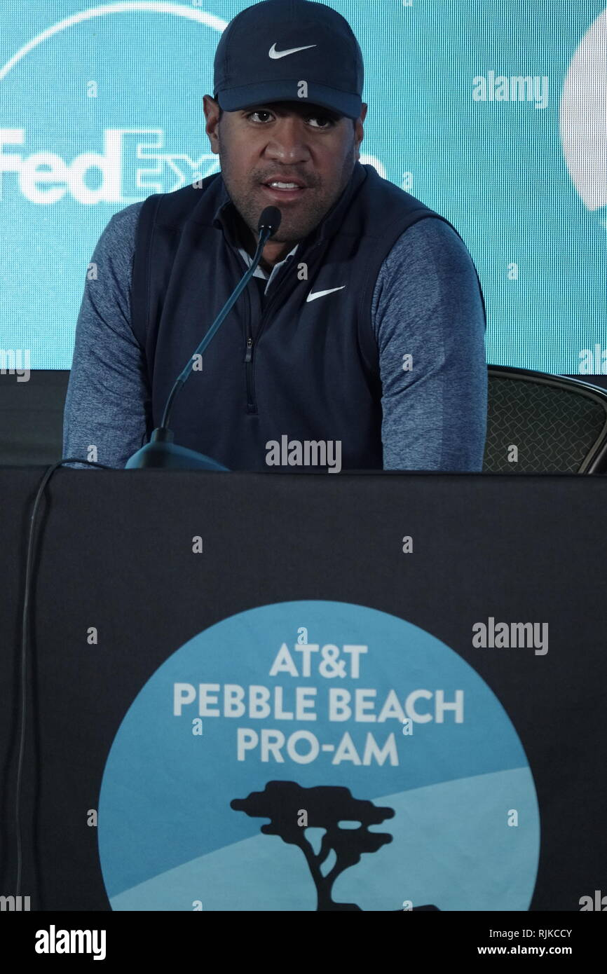 Pebble Beach Beach Golf Links, CA, USA. 6th Feb, 2019. Tony Finau (USA) talks to the mediatype} prior to the first round of f the AT&T Pro-Am at Pebble Beach Golf Links Credit: Motofoto/Alamy Live News - Stock Image