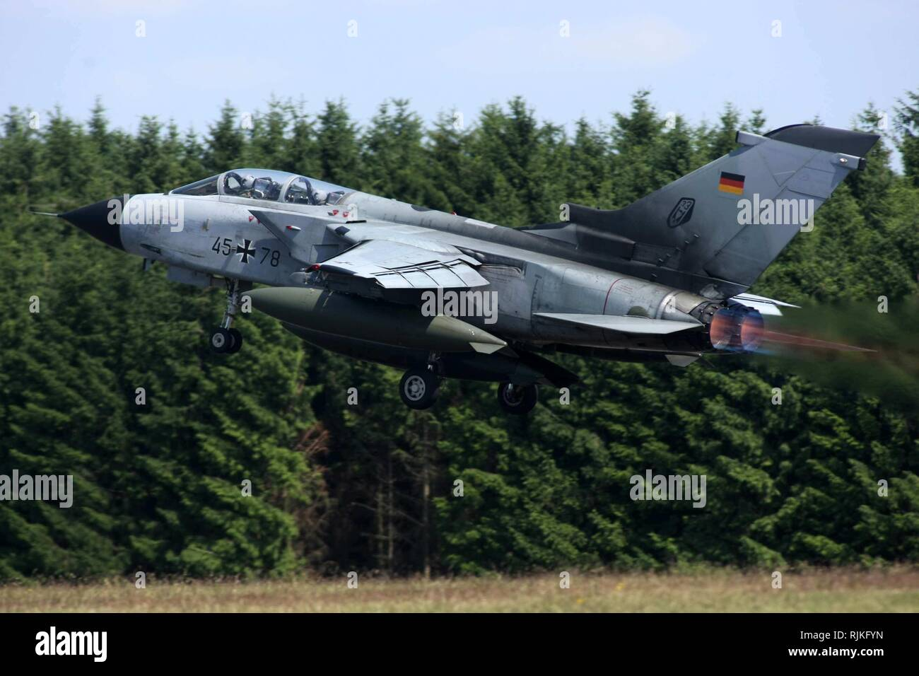 A 'Tornado' type fighter jet taking off on Tuesday (24 June 2008). A study by the US Air Force has confirmed that the nuclear weapons depot at the air base in the Cochem-Zell district is inadequately secured. Up to 20 B61 bombs with an explosive force ten times greater than that of the Hiroshima bomb are supposed to be stored in underground bunkers on the site of the base. | usage worldwide - Stock Image