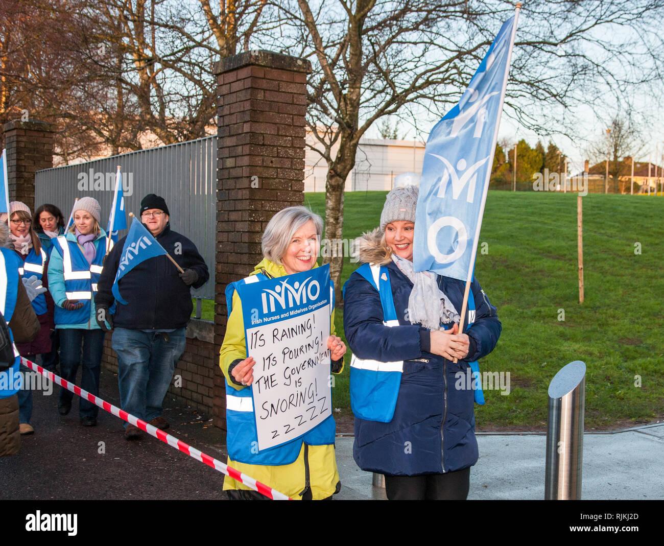 Cork City, Cork, Ireland  07th February, 2019  Nurses picketing