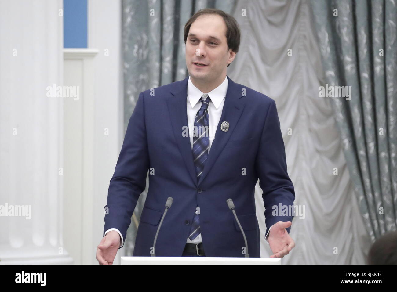 Moscow, Russia. 07th Feb, 2019. MOSCOW, RUSSIA - FEBRUARY 7, 2019: Ivan Oseledets, an associate professor at the Skolkovo Institute of Science and Technology, a laureate of the Presidential Prize in science and innovation for young scientists, speaks during an award ceremony at Moscow's Kremlin. Mikhail Metzel/TASS Credit: ITAR-TASS News Agency/Alamy Live News - Stock Image
