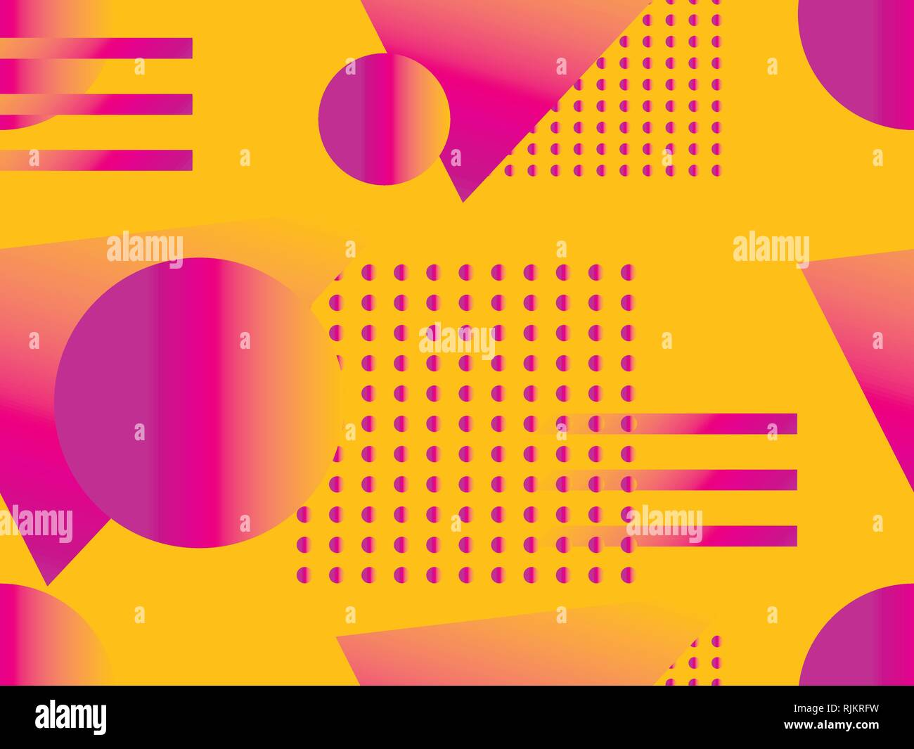 Geometric seamless pattern. Geometric shapes with gradient, memphis style. Zine culture abstract background. Vector illustration Stock Vector