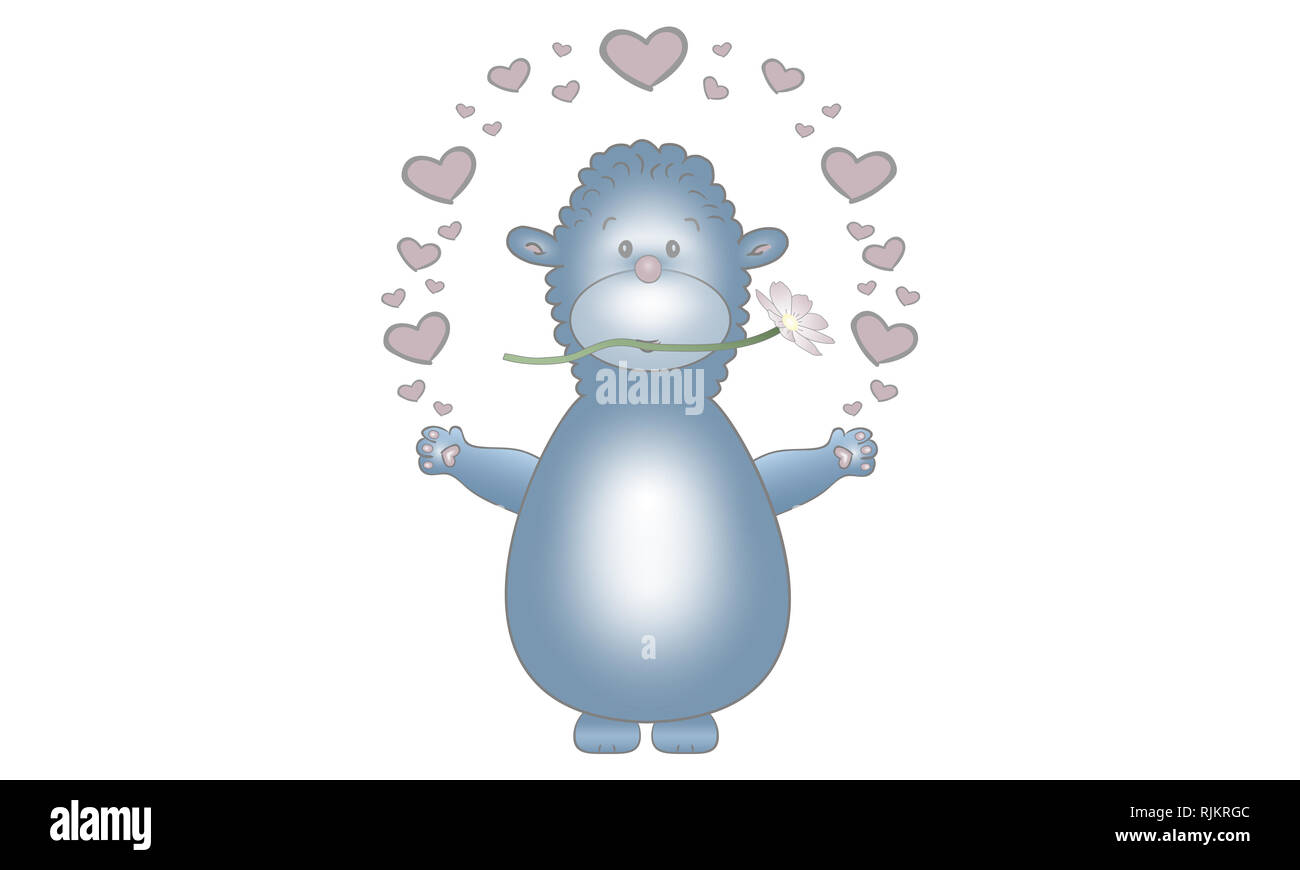 cute vector made illustration design of blue fantasy animal creature, with flower and hearts, isolated on white background Stock Photo