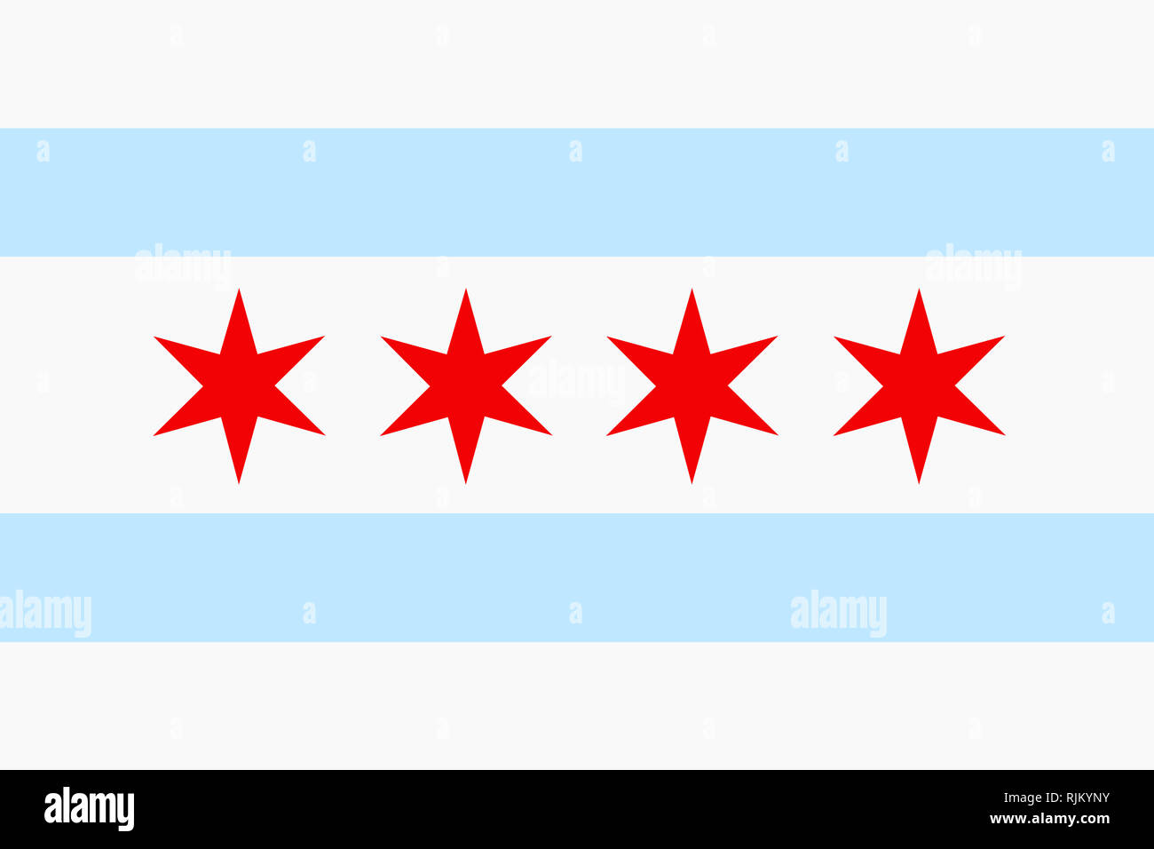 A background illustration Chicago flag Illinois USA city - Stock Image