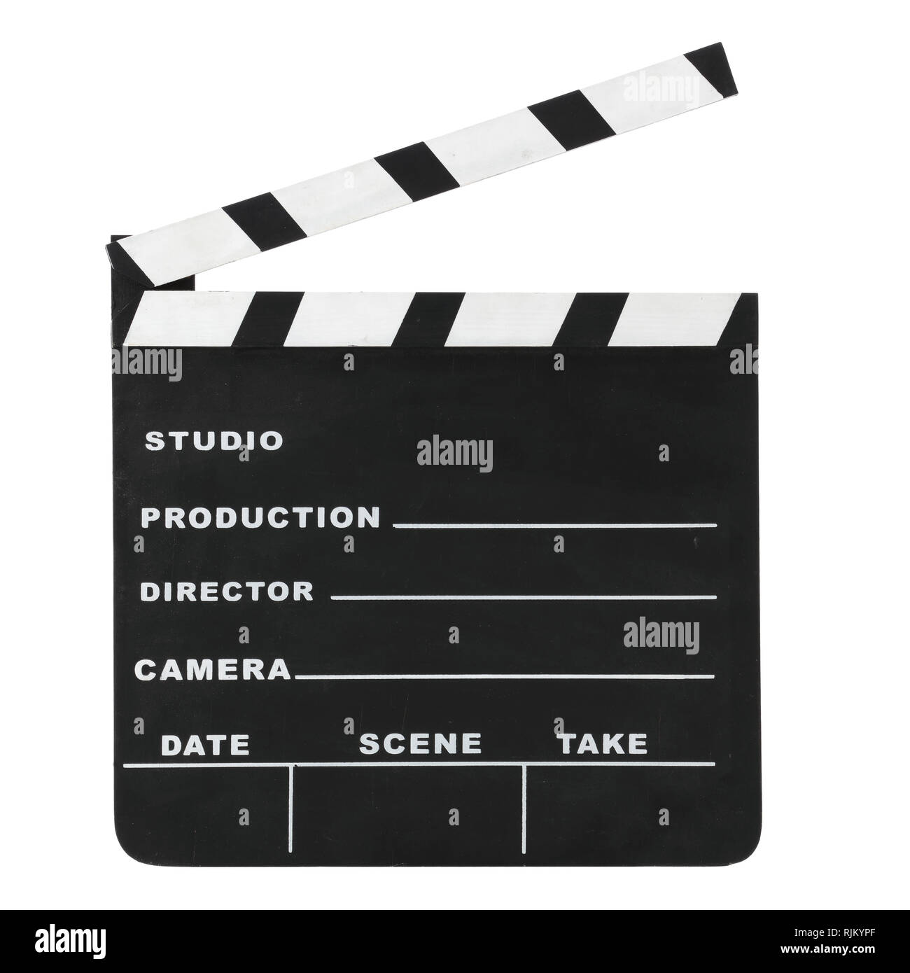 Classic Hollywood chalk open clapperboard isolated on a white background with clipping path - Stock Image