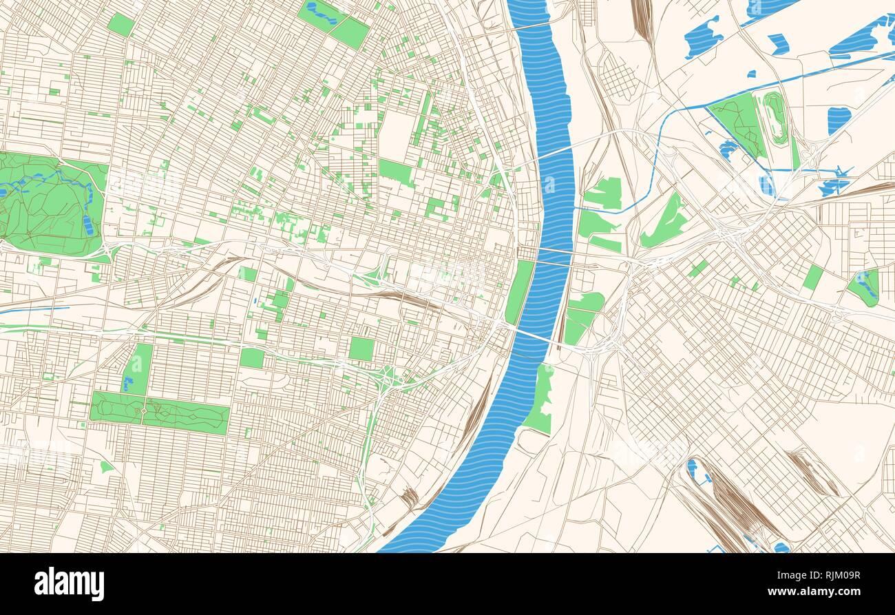 St. Louis Missouri printable map excerpt. This vector ...