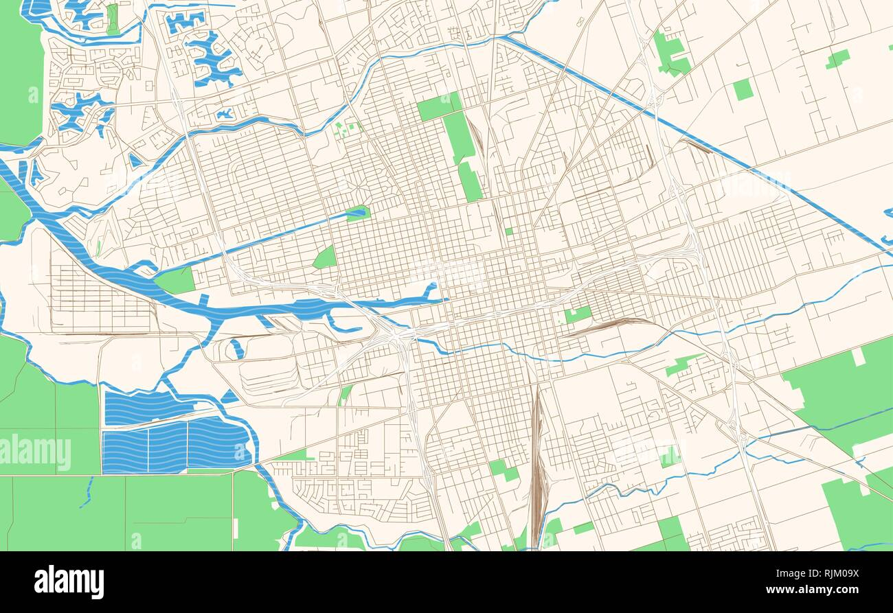Stockton California printable map excerpt. This vector streetmap of downtown Stockton is made for infographic and print projects. Stock Vector