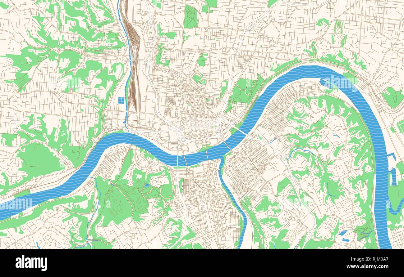 Cincinnati Ohio printable map excerpt. This vector streetmap of downtown Cincinnati is made for infographic and print projects. Stock Vector