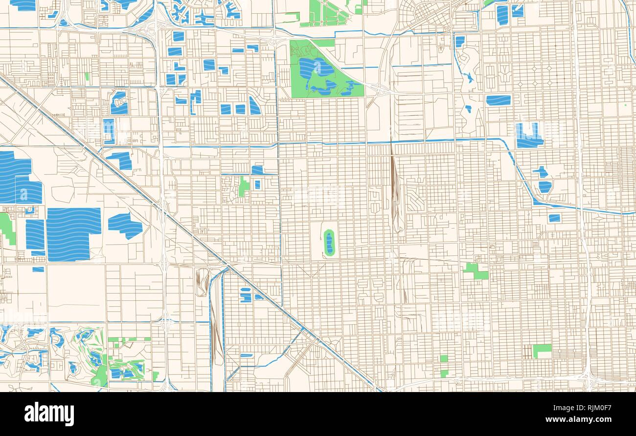 Map Of Florida Printable.Hialeah Florida Printable Map Excerpt This Vector Streetmap Of