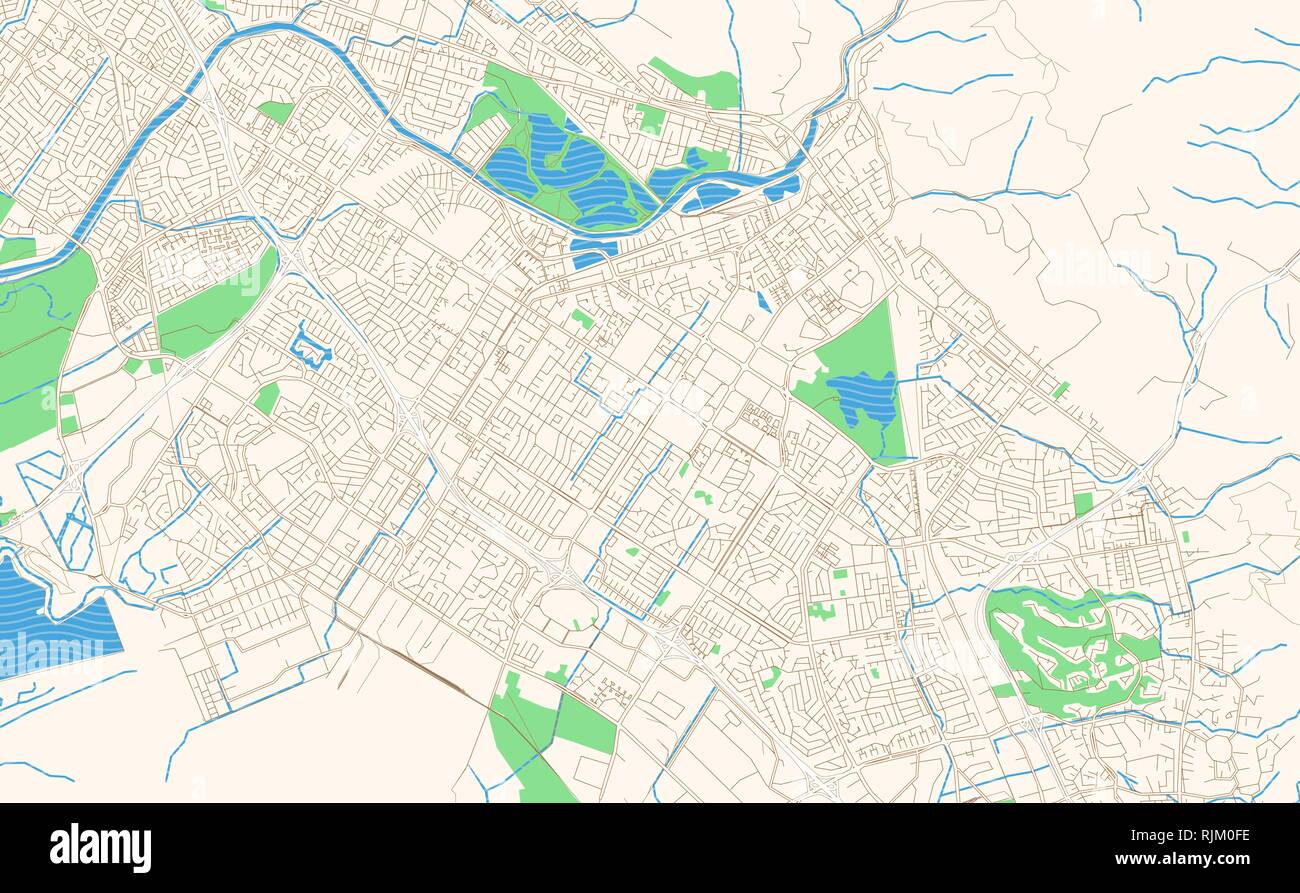 Fremont California printable map excerpt. This vector streetmap of downtown Fremont is made for infographic and print projects. Stock Vector
