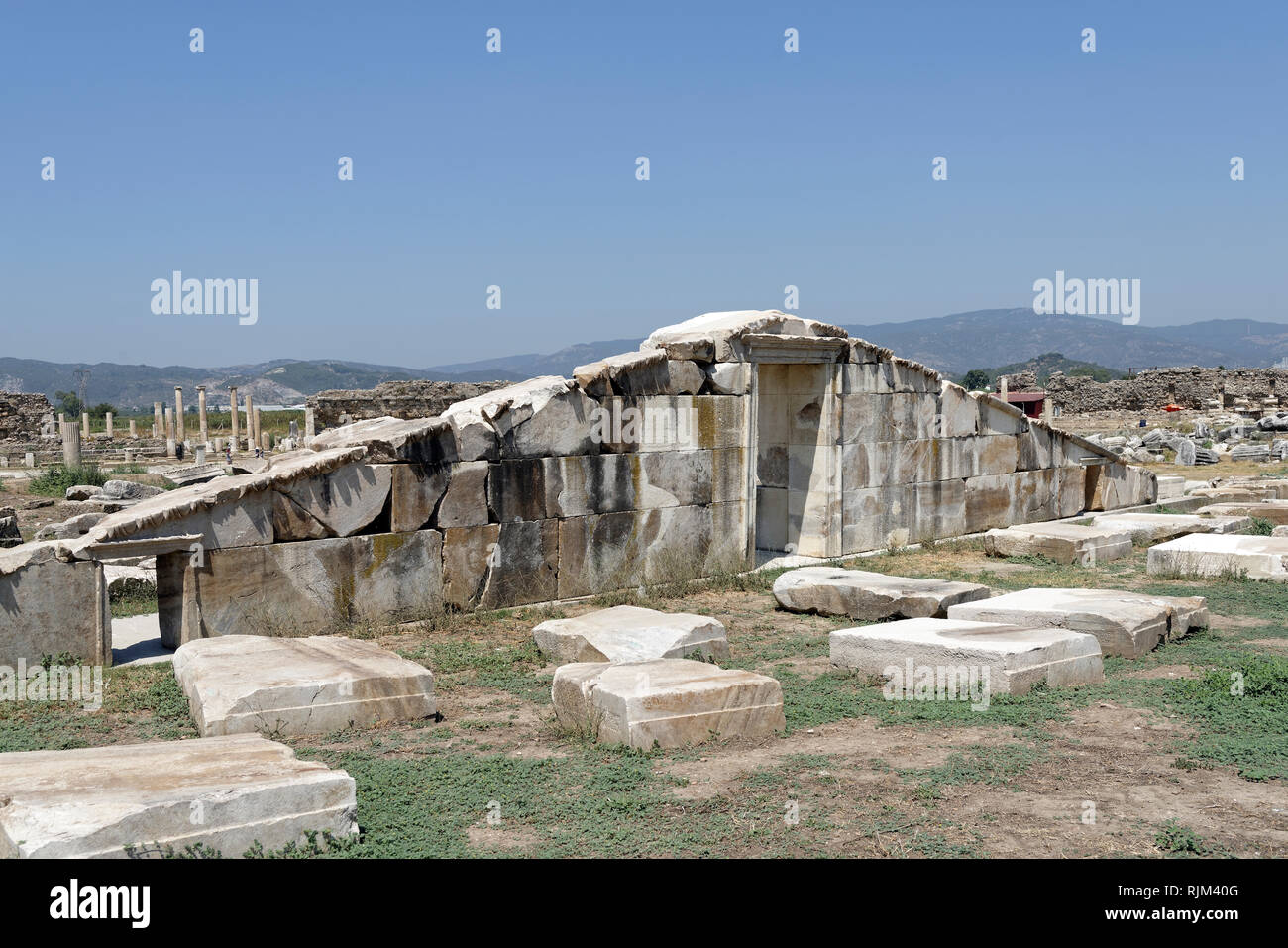 Resembled Pediment of the Hellenistic Temple of Artemis Leucopryne built in the second century BC, Magnesia on the Meander, Tekin, Ionia, Turkey. The  - Stock Image