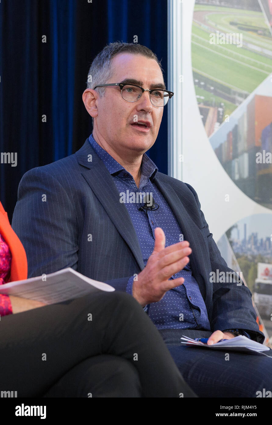 Virgin Australia CEO Paul Scurrah speaking at a business event in Sydney, 2018. - Stock Image