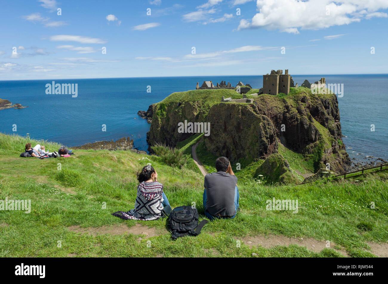 Dunnottar Castle near Stonehaven Aberdeenshire - Stock Image
