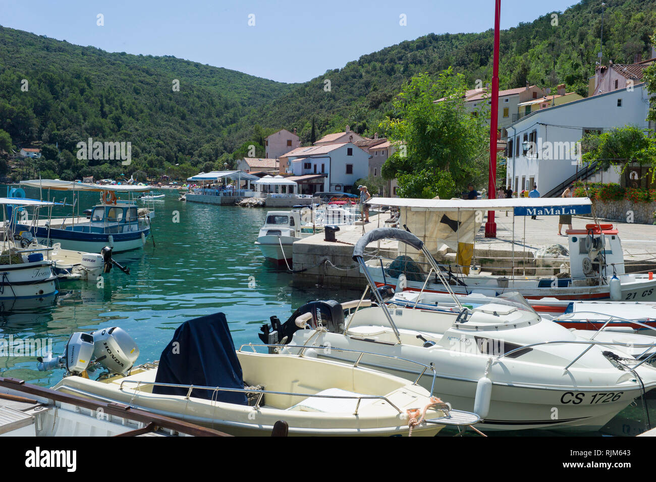 Boats in Valun harbour in the town of Valun,Cres Croatia Stock Photo