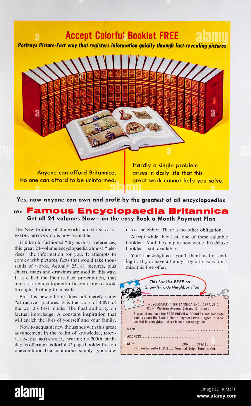 A 1955 magazine advertisement for Encyclopaedia Britannica. - Stock Image