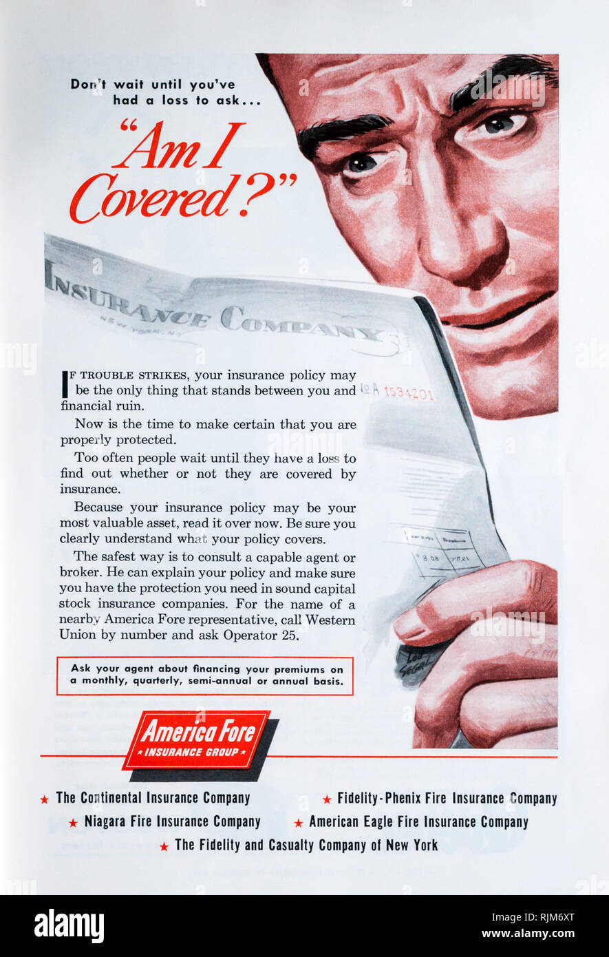 A 1955 magazine advertisement for American Fore insurance. - Stock Image