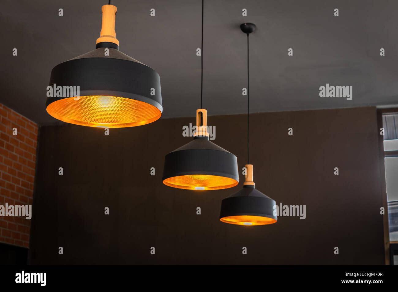 Beautiful luxury ceiling lighting lamp decoration. Stock Photo