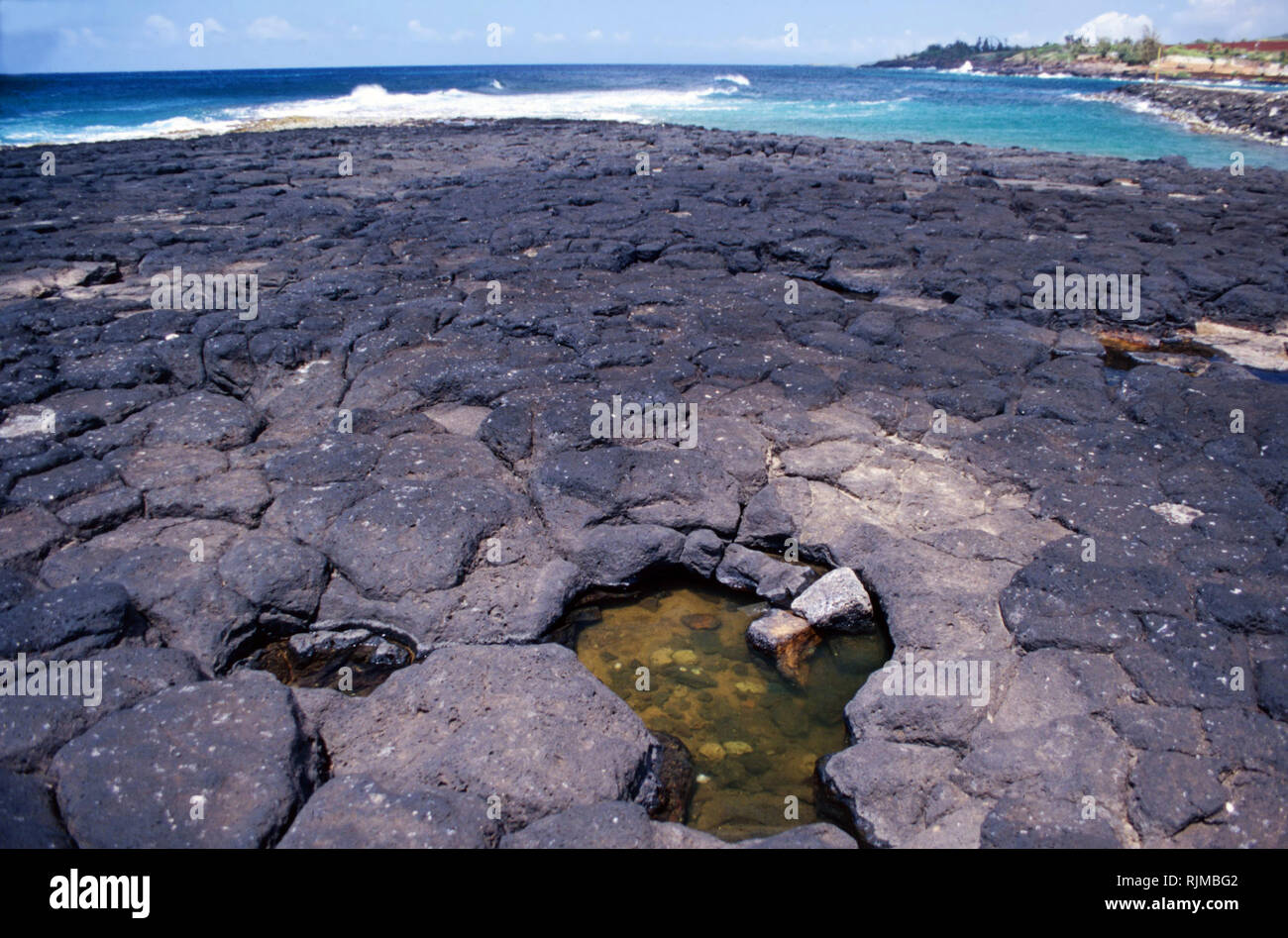 Pillow lava from Kilauea volcanic eruptions,Hawaii Stock Photo