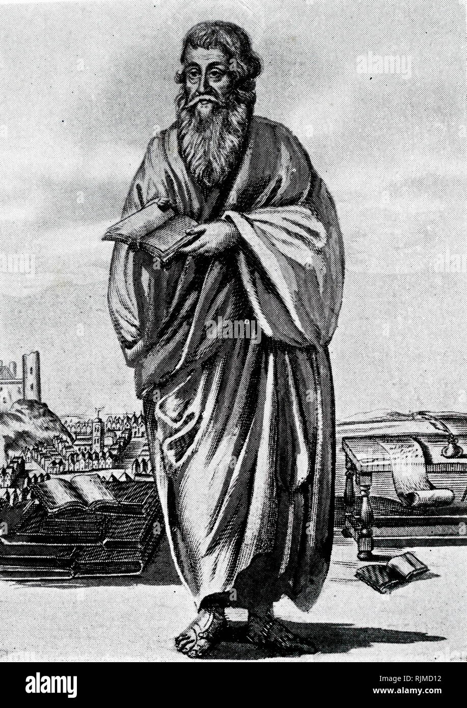 Illustration showing Eusebius of Caesarea (c.264-340) Palestinian theologian and scholar, Father of Church History - Stock Image