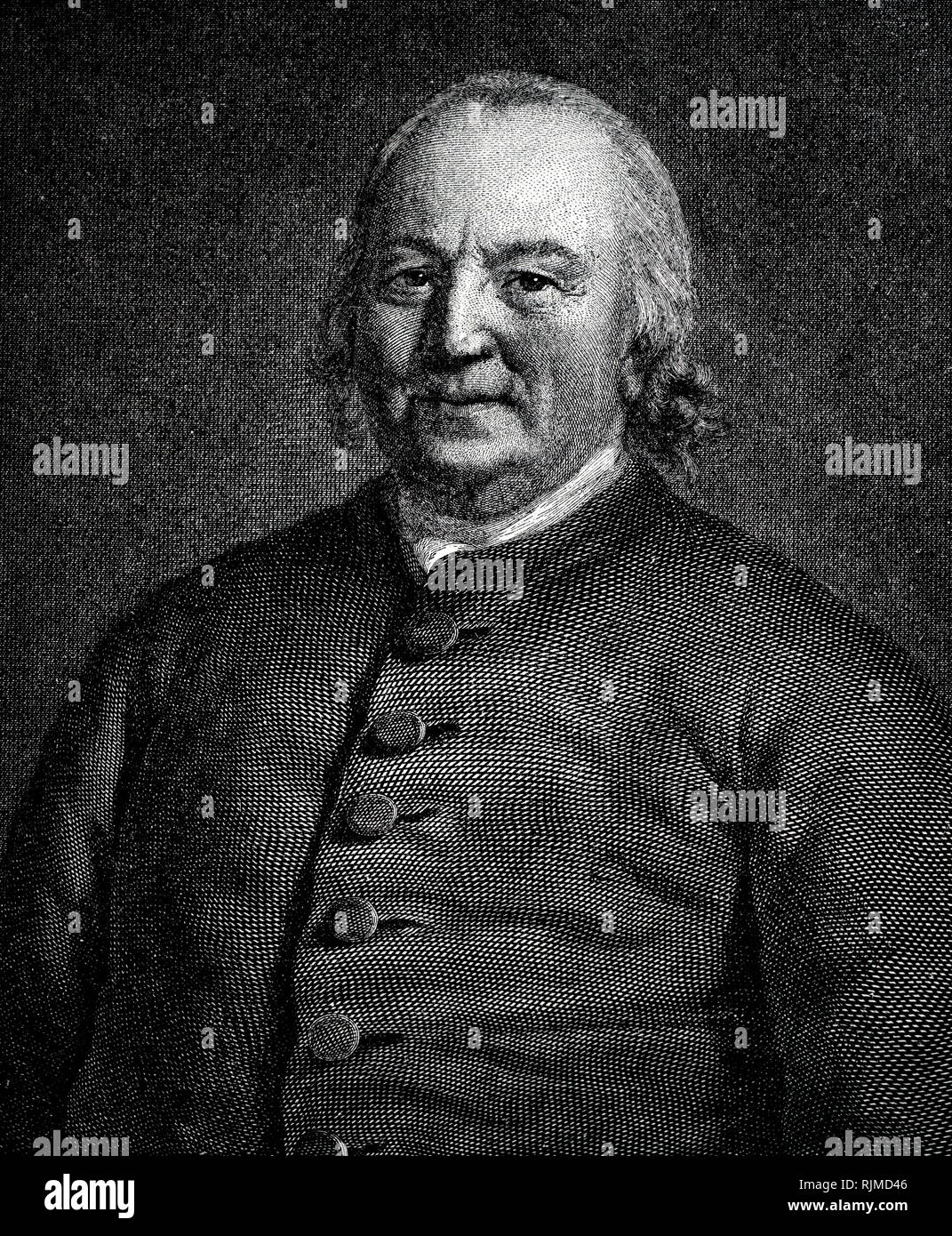 Illustration showing August Gottlieb SPANGENBERG (1704-92) founder of Moravian Church in America in Georgia, 1735. Wood engraving - Stock Image