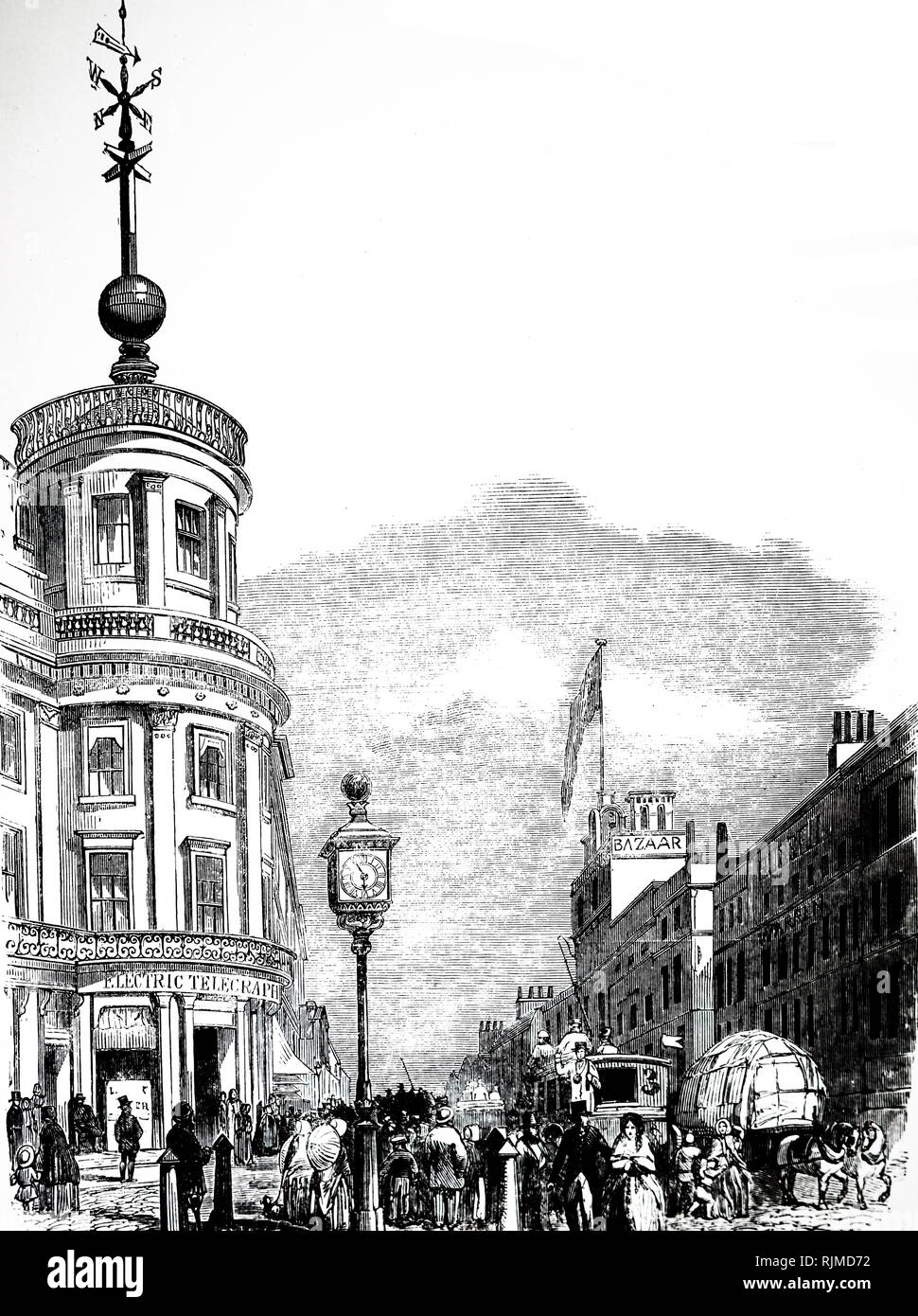 Illustration showing The time ball on the Electric Telegraph Co's Strand Office -this was connected to the time ball on the Royal Observatory, Greenwich, and was dropped at 1 o'clock each afternoon so that ships on the river could set their chronometers. 1852 - Stock Image