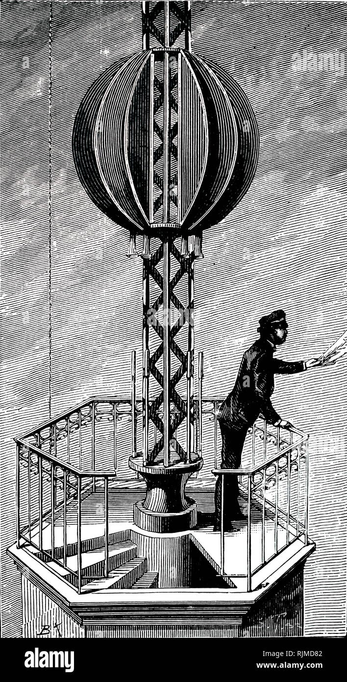 Illustration showing The Time Ball, New York. The descent of the ball was automatically controlled by a signal from Washington Observatory 360 km away. The purpose of such time balls was to enable the public to set their watches and chronometers accurately. 1883 - Stock Image