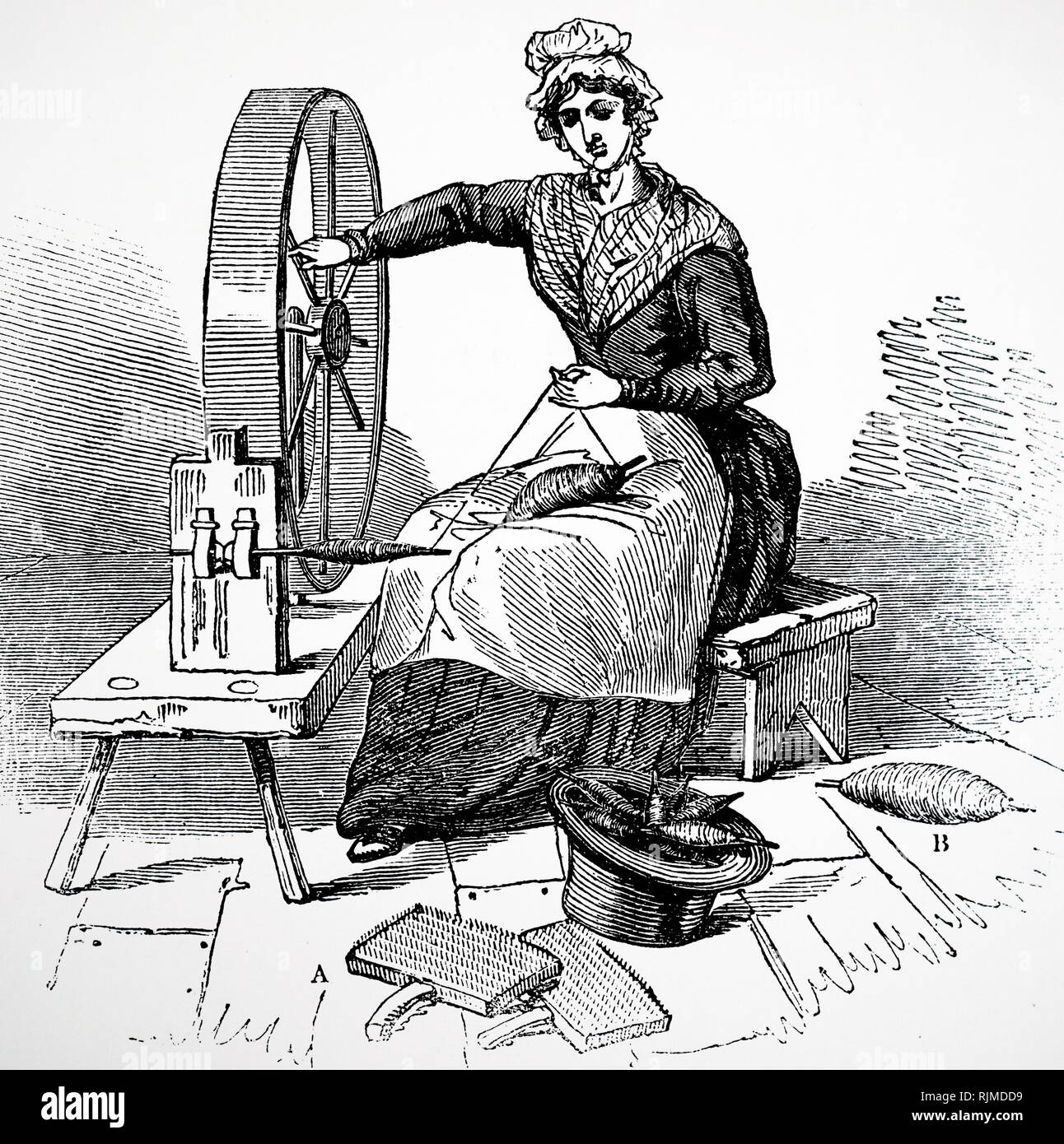 Illustration showing the Jersey spinning wheel. 1836 - Stock Image