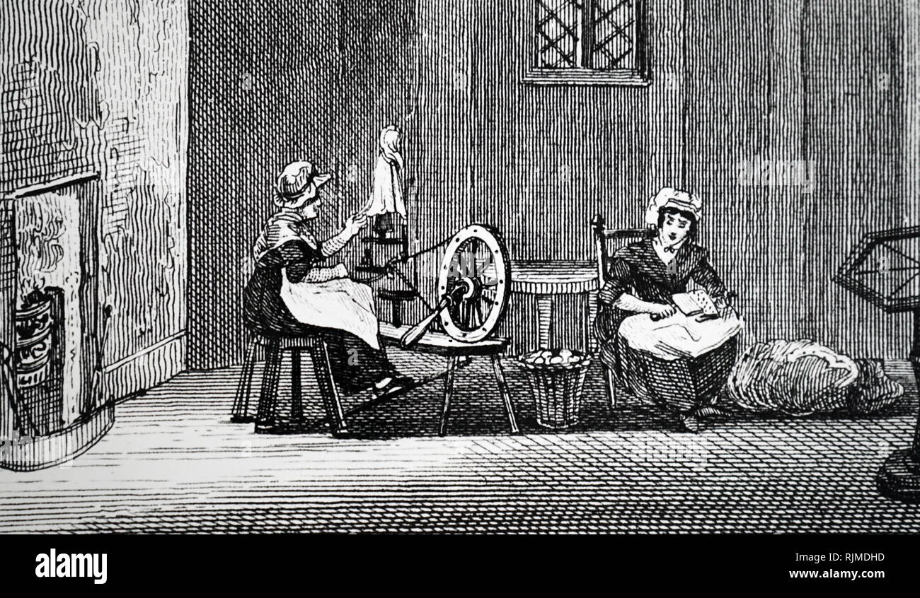 Illustration showing Women of Snaith spinning and carding flax. From the Rev. Isaac Taylor Scenes of British Wealth, London, 1823. - Stock Image