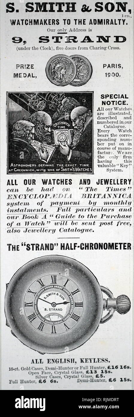 Advertisement for Smith's watches. From The Illustrated London News, 1900 - Stock Image