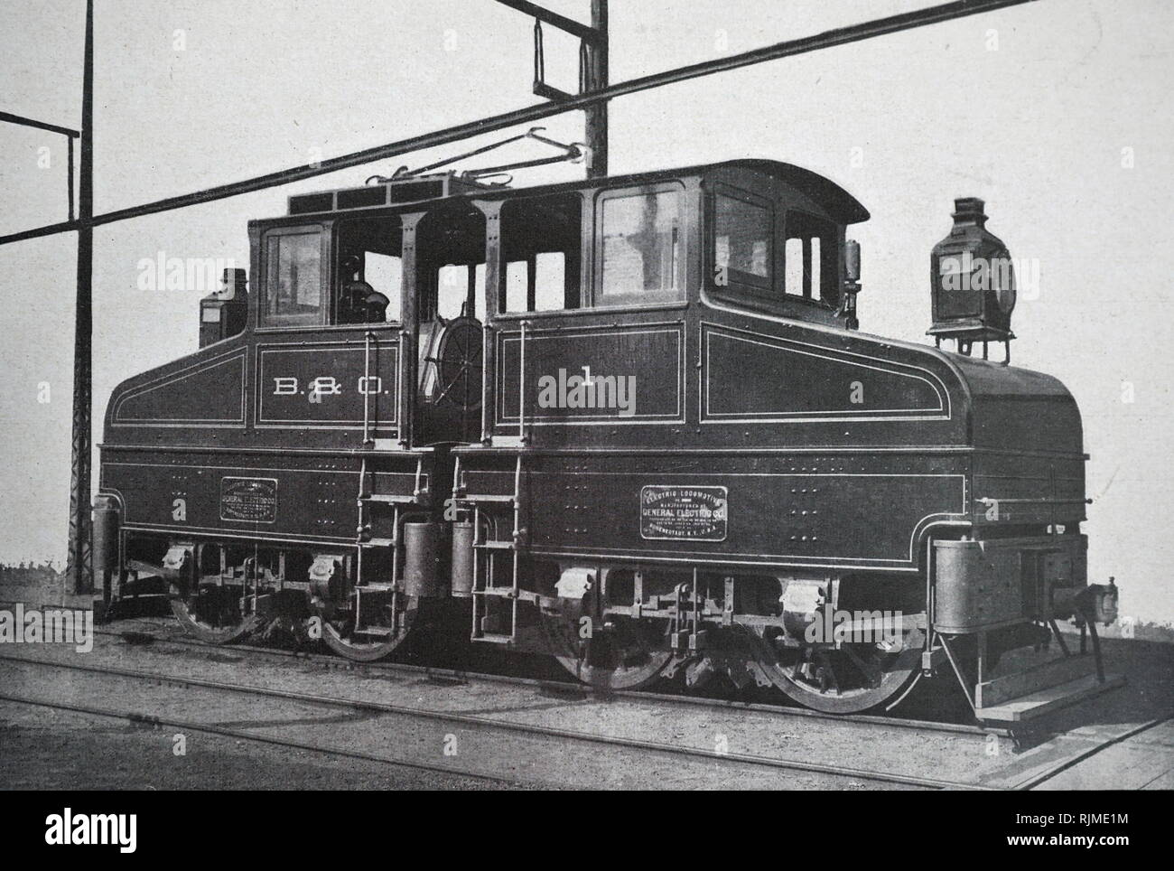 Illustration showing Electric locomotive built at Baltimore by the General Electric Company in 1895, and put into service on the junction line of the Baltimore and Ohio Railroad - Stock Image
