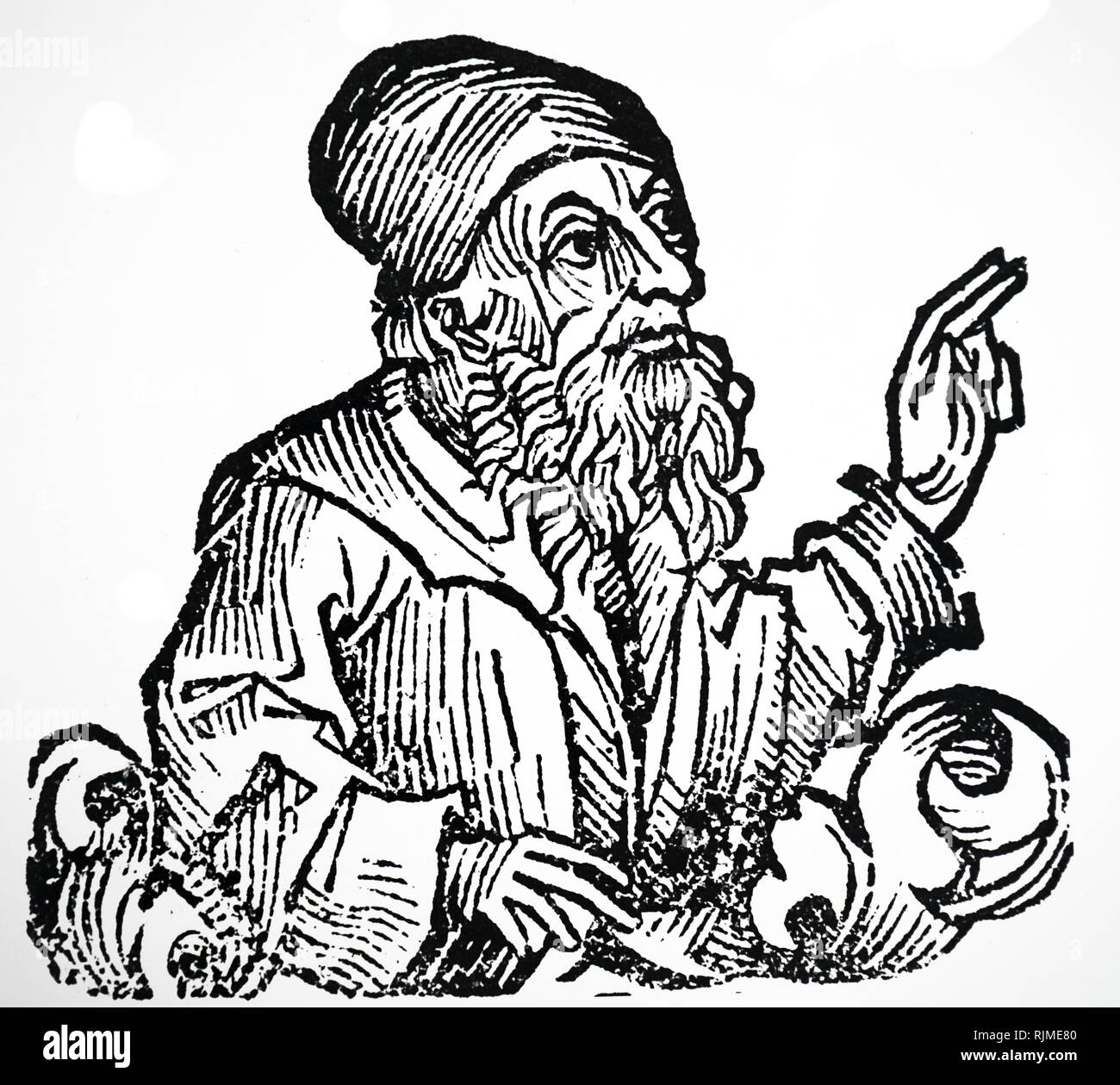 Illustration showing Jan Huss From Hartmann Schedel 'Liber 0hronicarum mundi (Nuremberg Chronicle)', Nuremberg, 1493. Jan Hus ( c. 1369 - 6 July 1415), Czech theologian, philosopher, master, dean, and rector Stock Photo