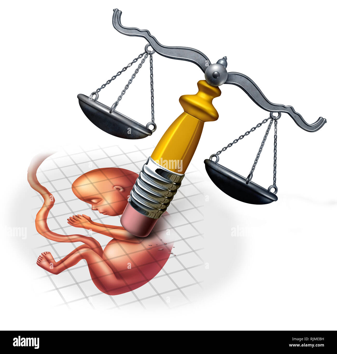 Abortion law concepts and social ethics in regards to late term pregnancy as a fetus being erased by a justice scale with 3D illustration elements. - Stock Image