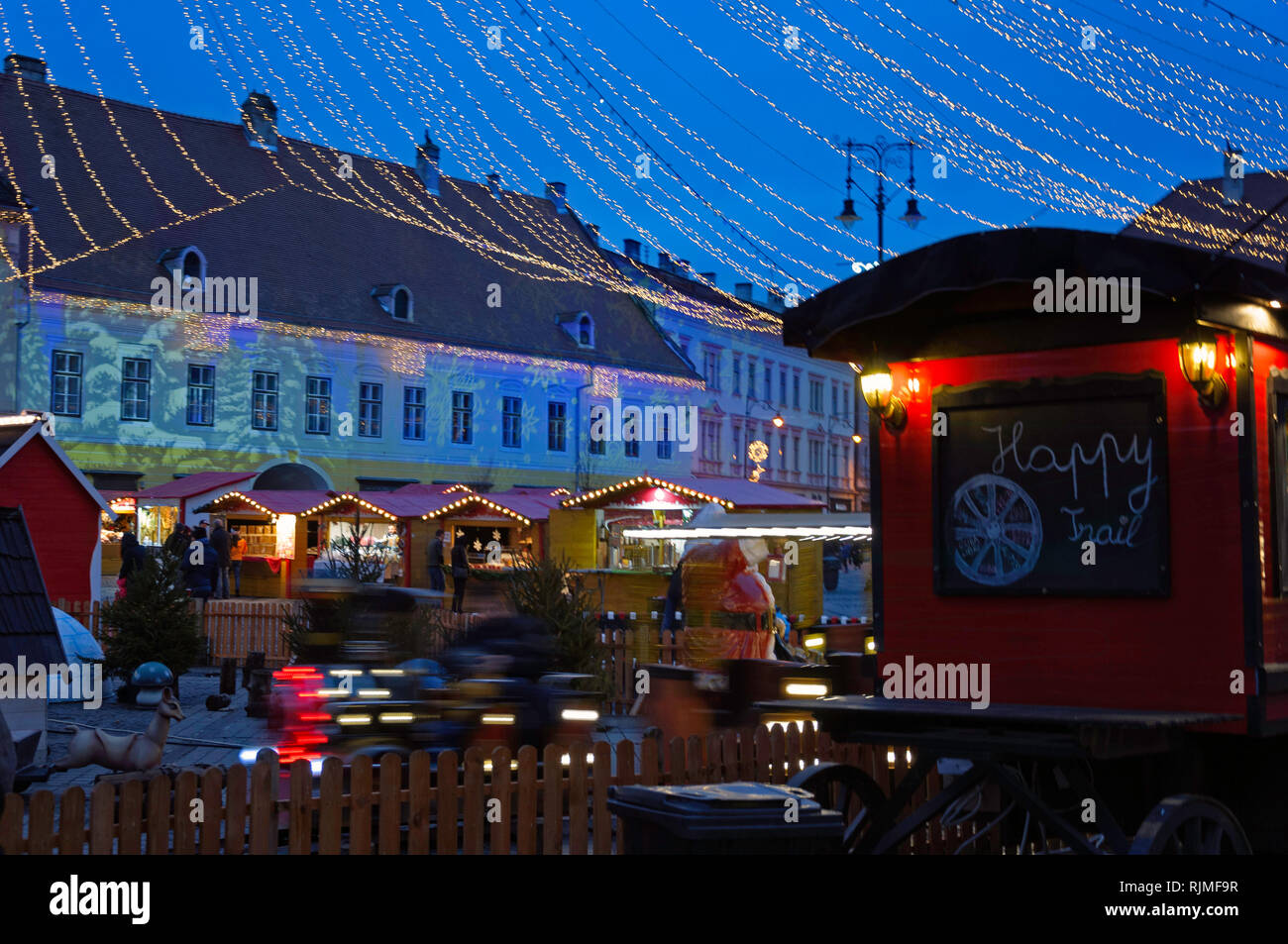 A 'Happy Trail' food canteen in Sibiu's Christmas market - Stock Image