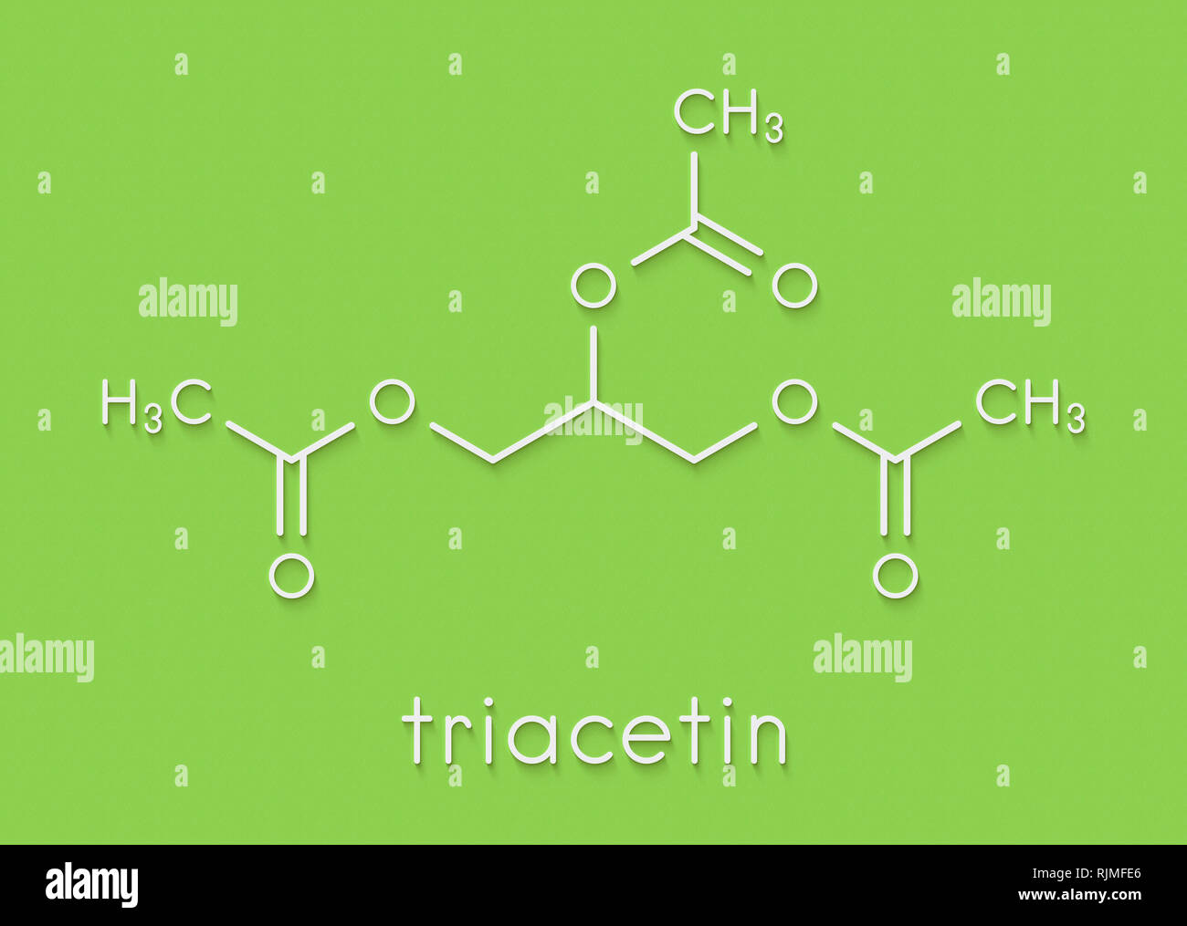 Triacetin (glycerin triacetate) molecule. Skeletal formula. - Stock Image