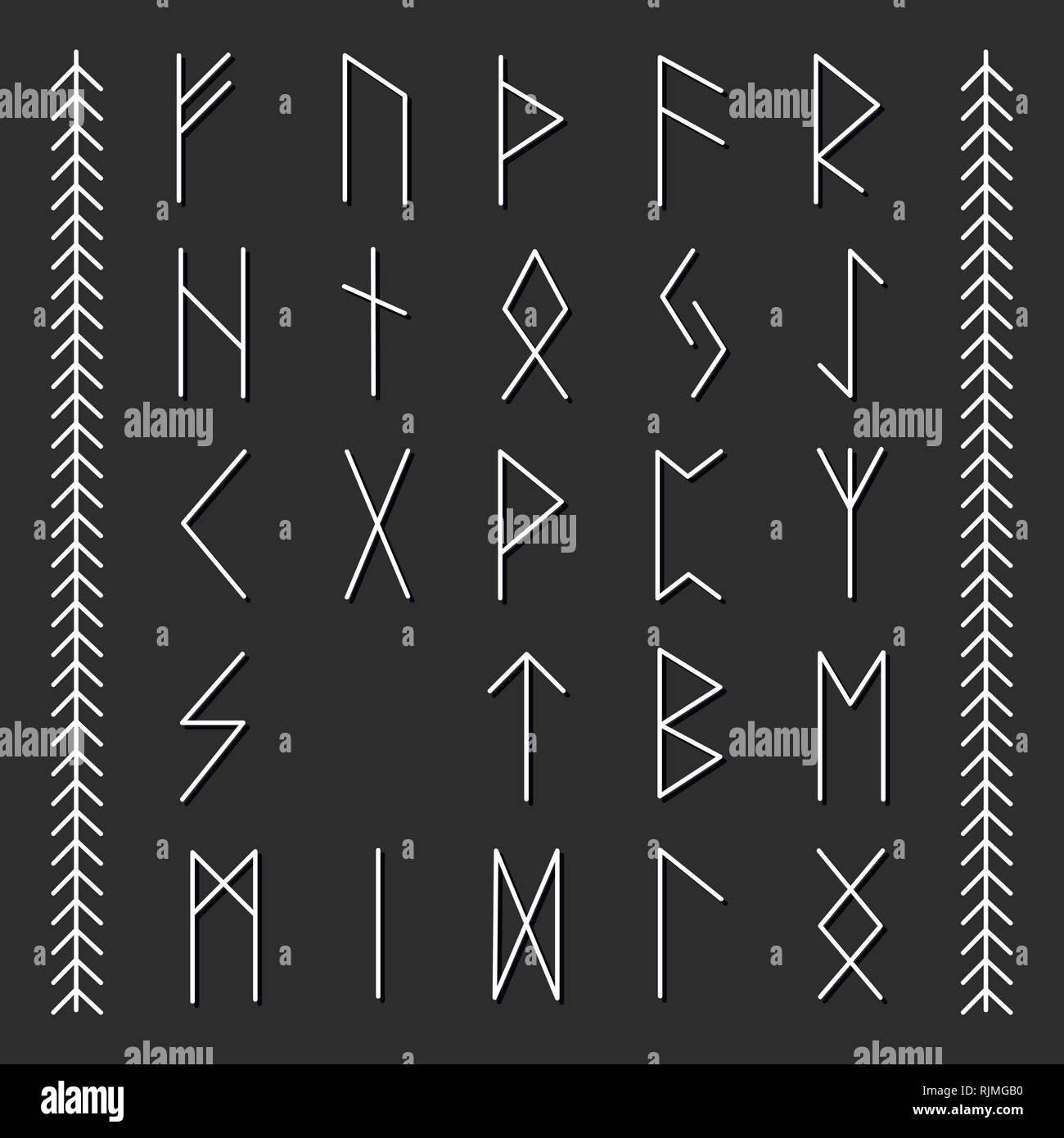 Set of Old Norse Scandinavian runes. Runic alphabet, futhark. - Stock Image