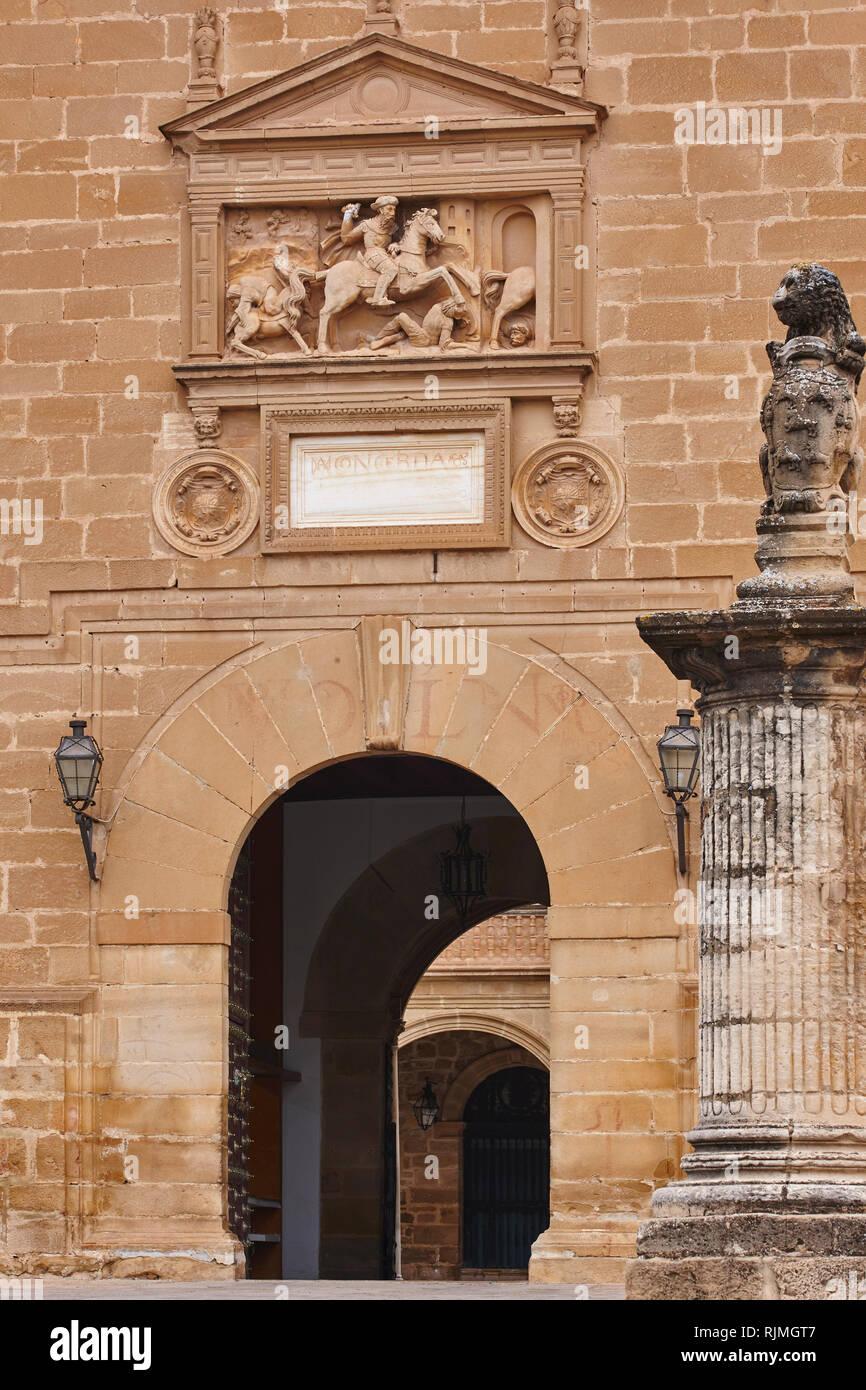 Santiago hospital stone facade 16th century. Unesco heritage. Ubeda, Spain - Stock Image