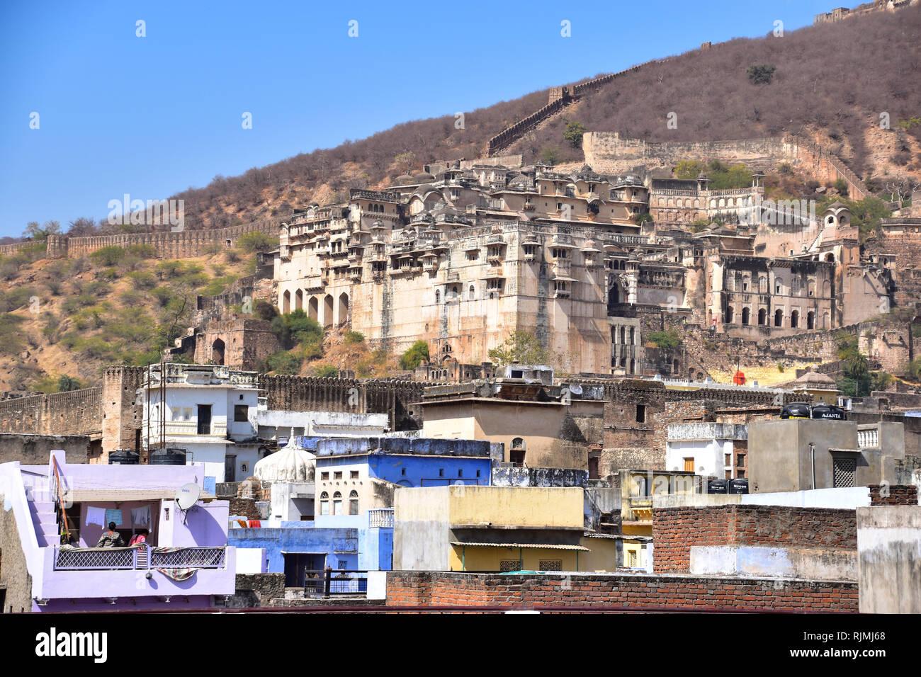 Bundi Palace & Taragarh Fort, or Star Fort, Bundi, Rajasthan, India - Stock Image
